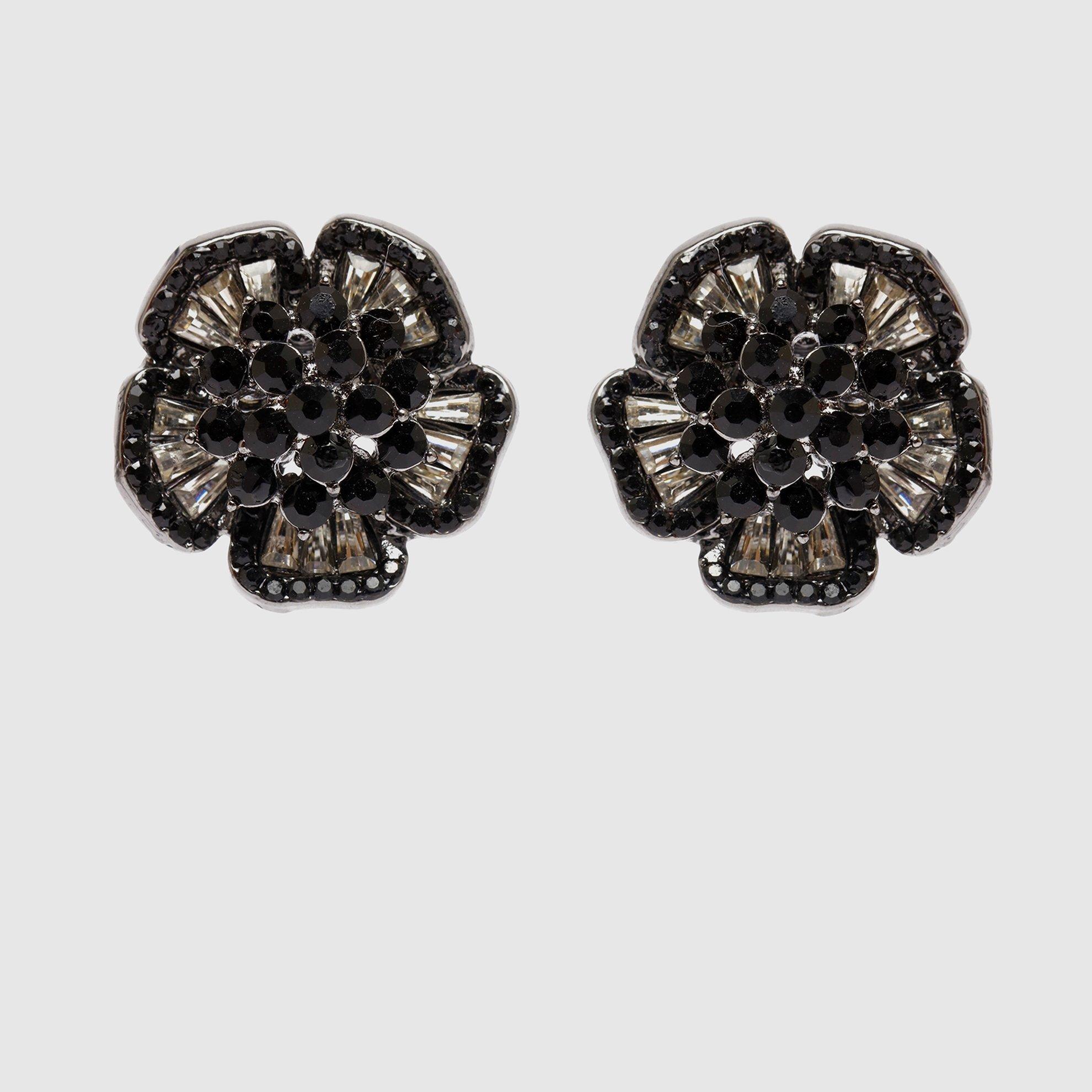 Ohrring mit Stein und Blumenmotiv