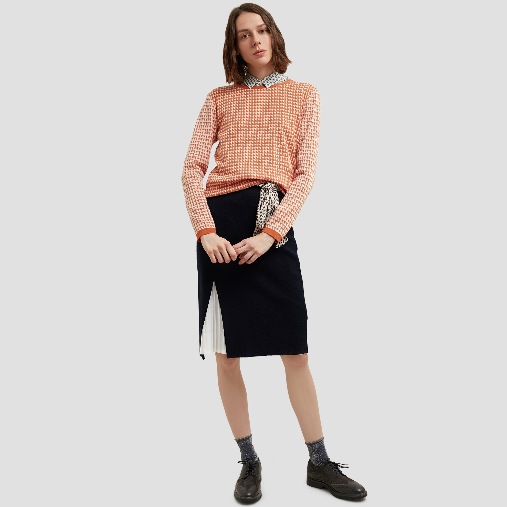 Chiffon Pleated Tricot Skirt