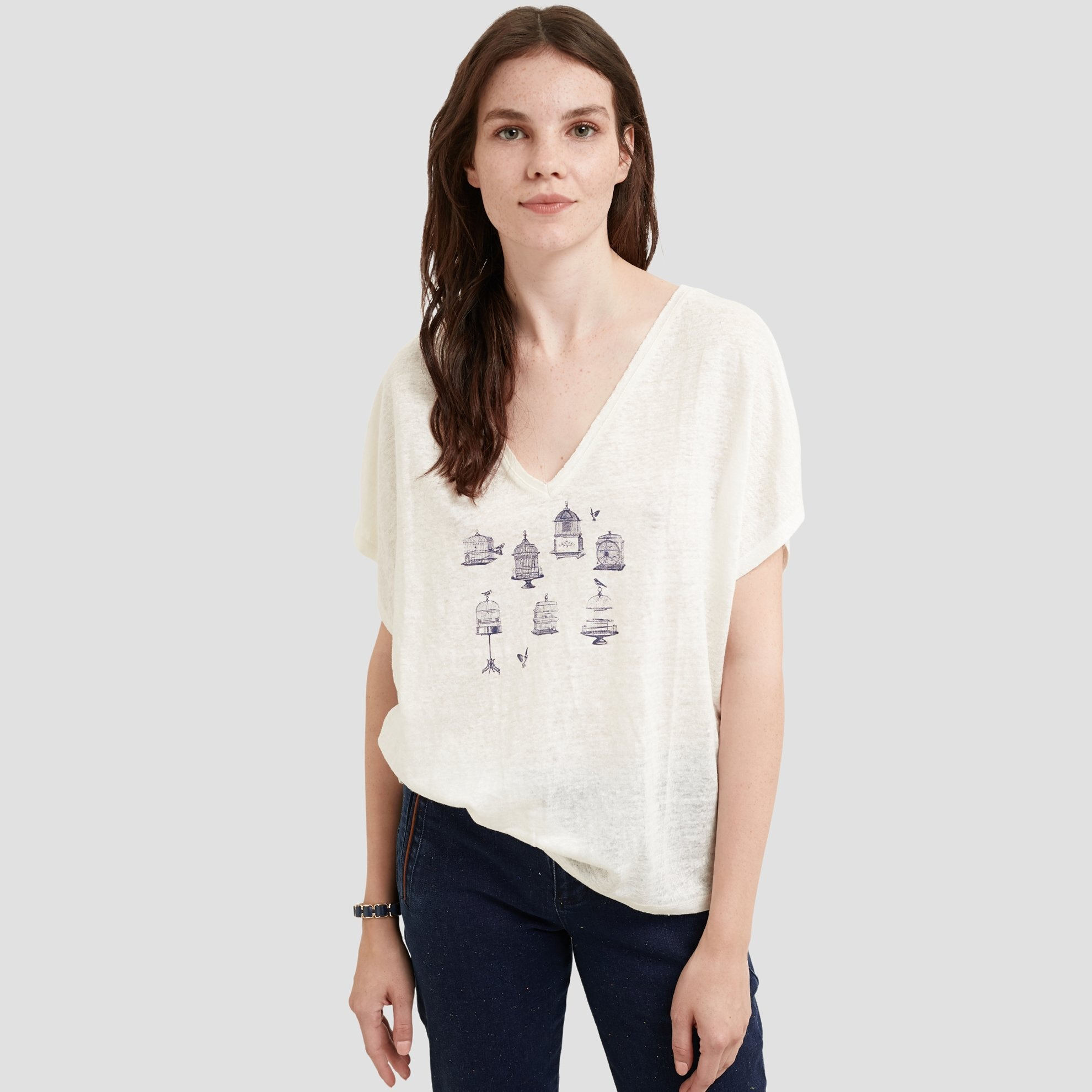 resm V Yaka Kısa Kollu T-shirt