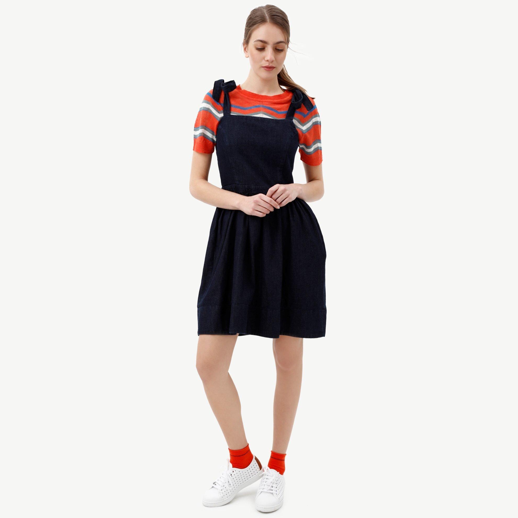 Bağlama Detaylı Denım Elbise