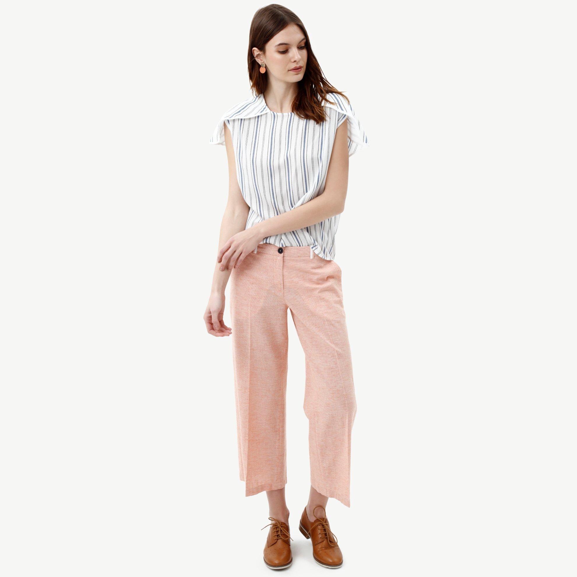 resm Ütü Çizgili Boru Paça Pantolon