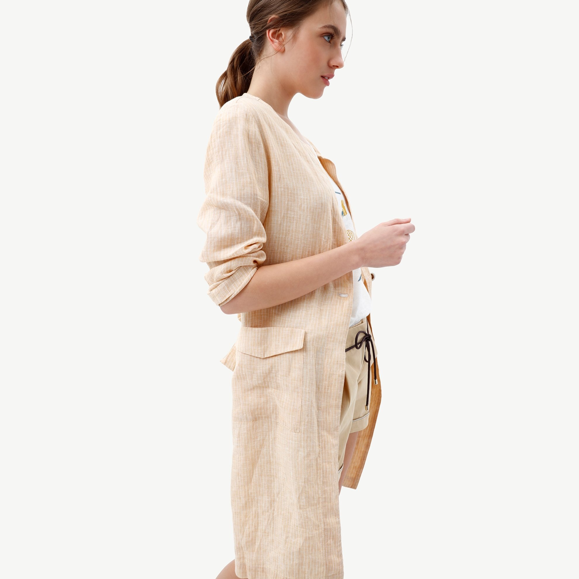 Picture of Round Neck Trench Coat With Patch Pockets