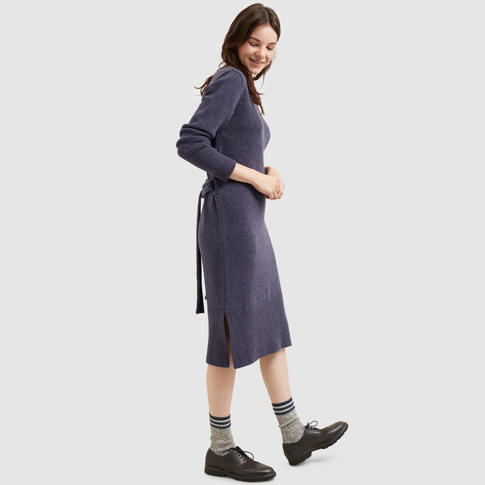 Yırtmaç Detaylı Triko Elbise