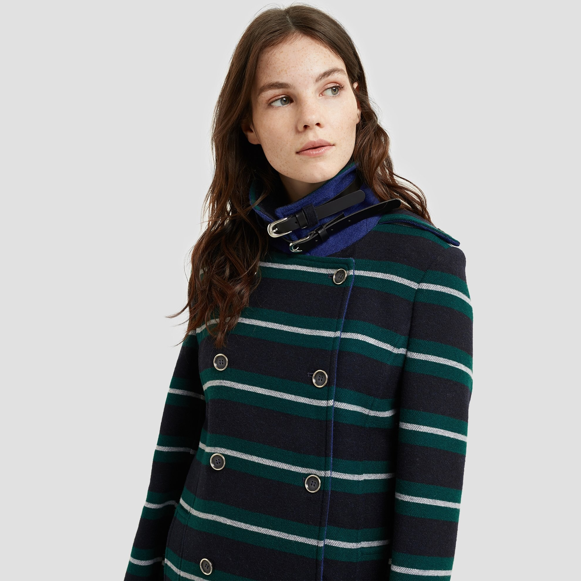 Collar Detailed Double Breasted Coat
