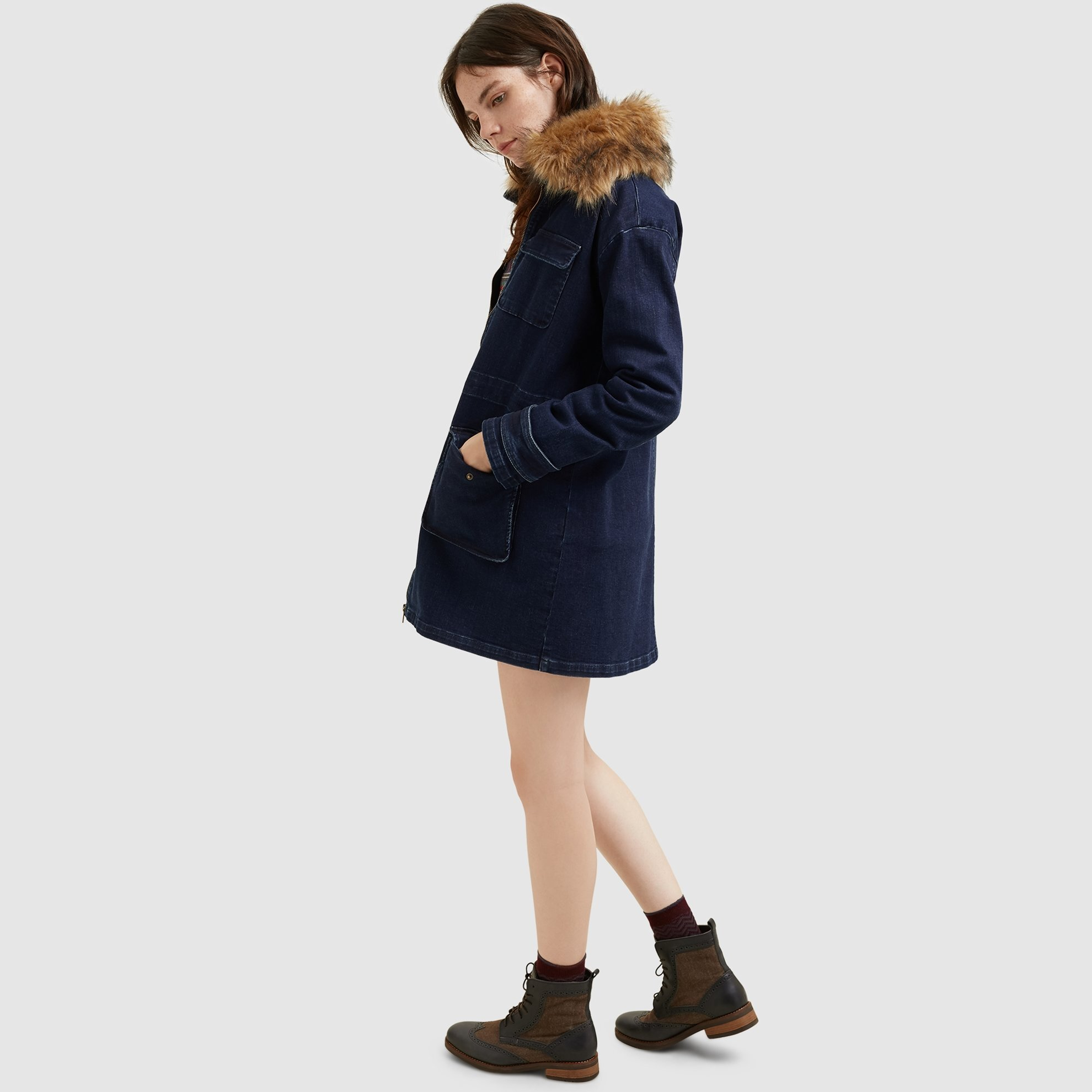 Picture of Fur Detailed Denim Coat