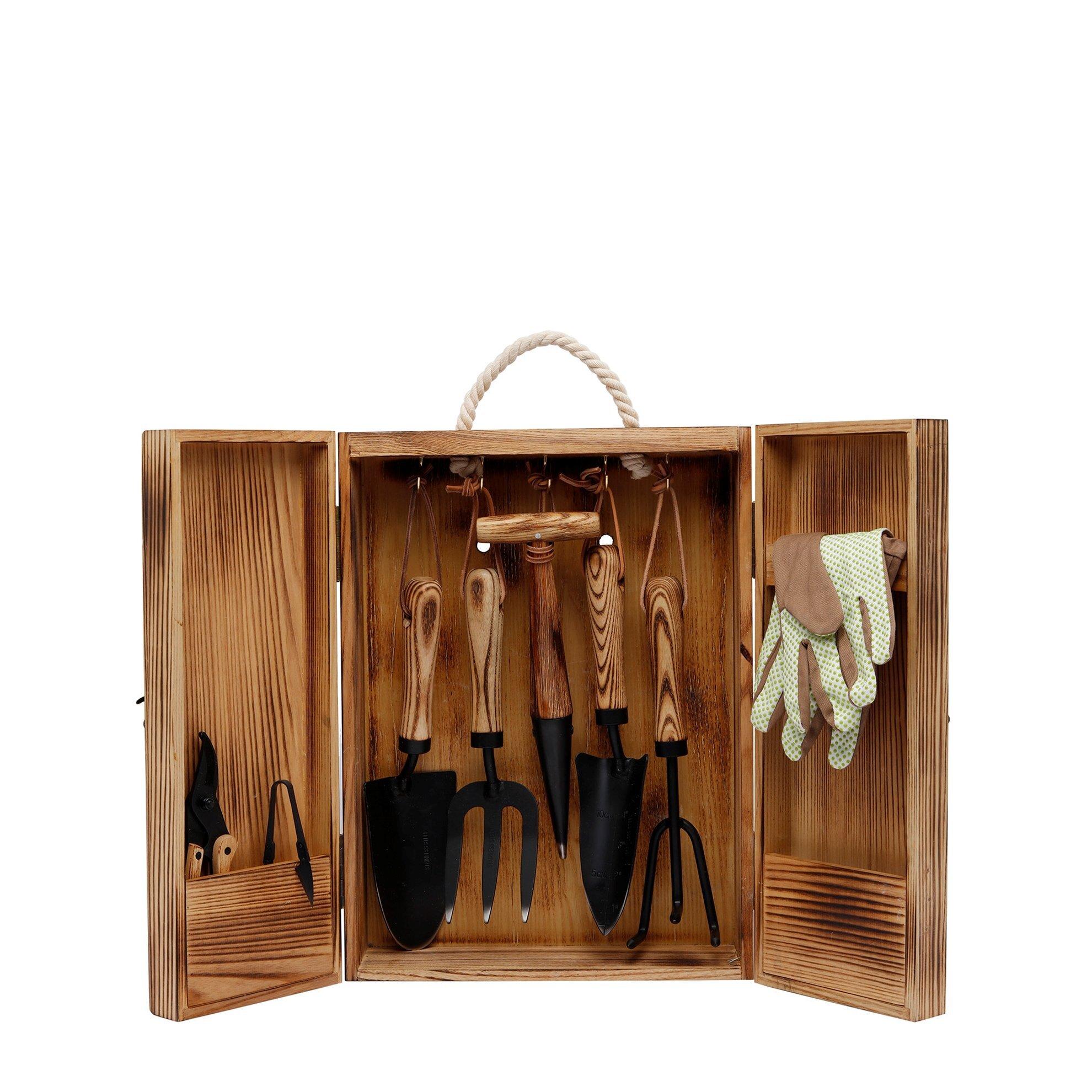 Wooden Garden Tool Set ( 32,5 X 45,5 X 12 Cm )