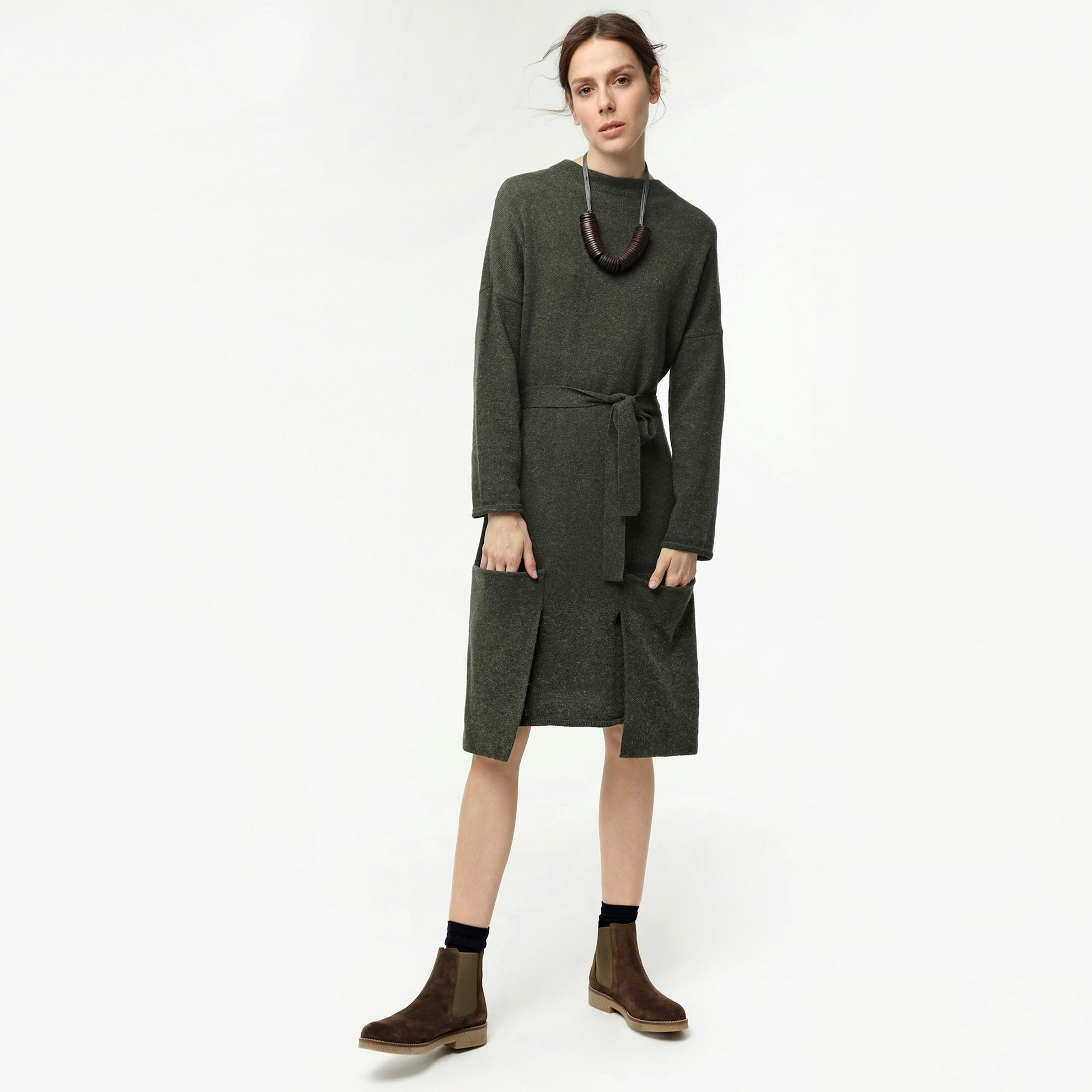 Cep Detaylı Triko Elbise