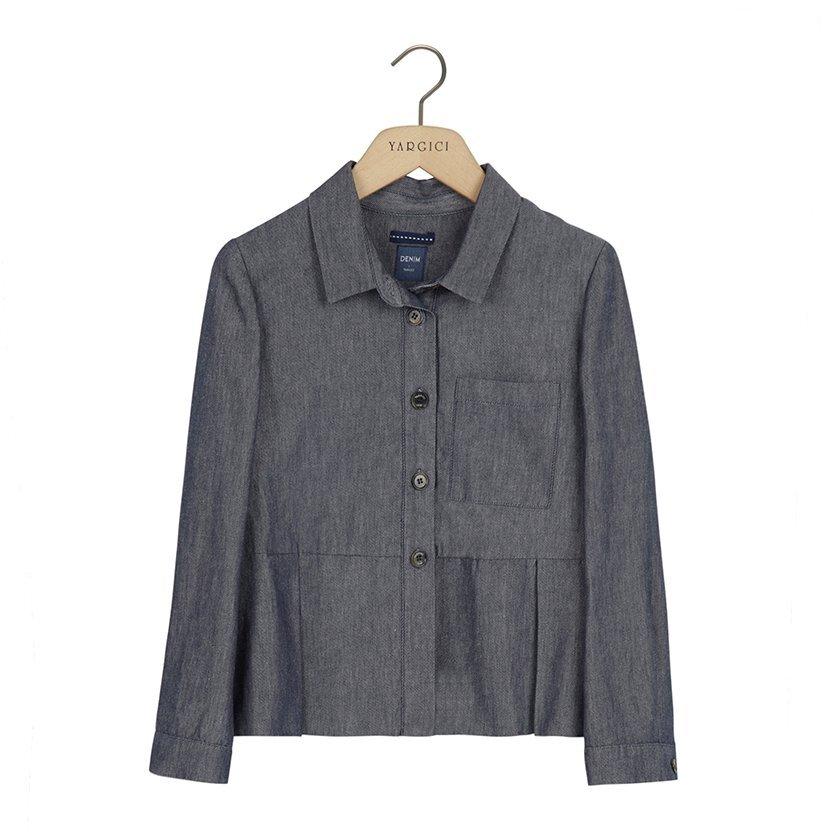 resm Pli Kırma Detaylı Ceket