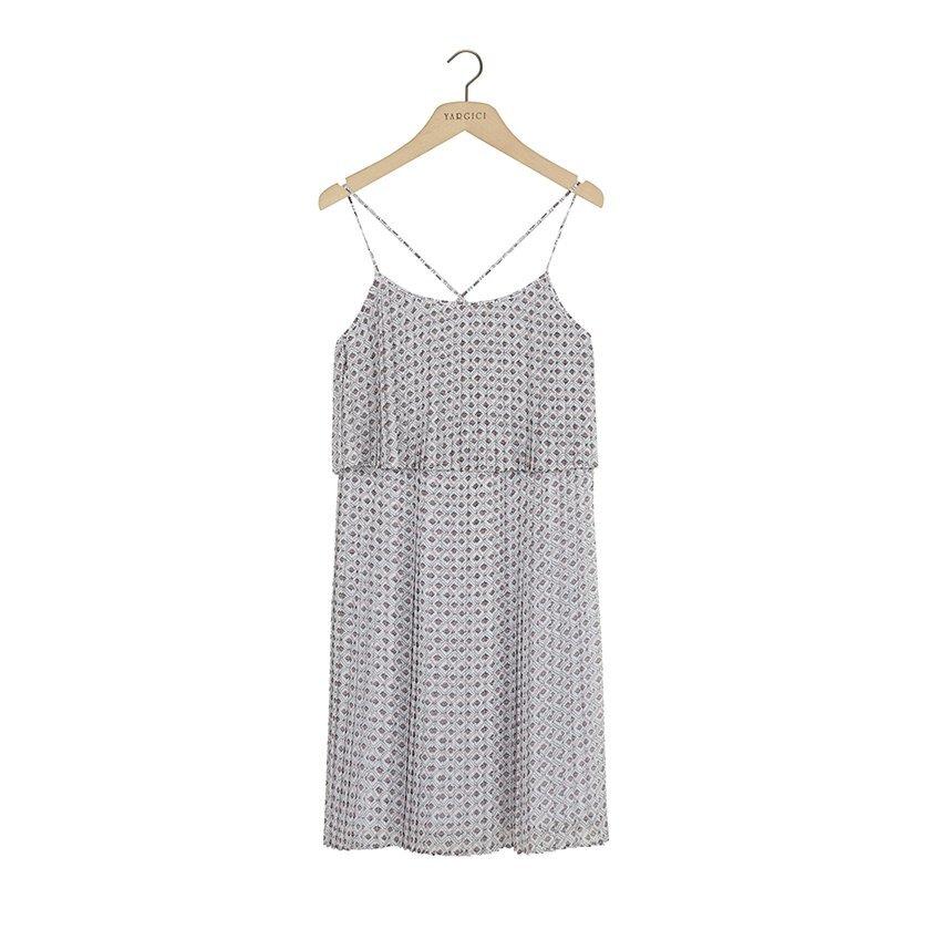 Pliseli Askı Detaylı Elbise