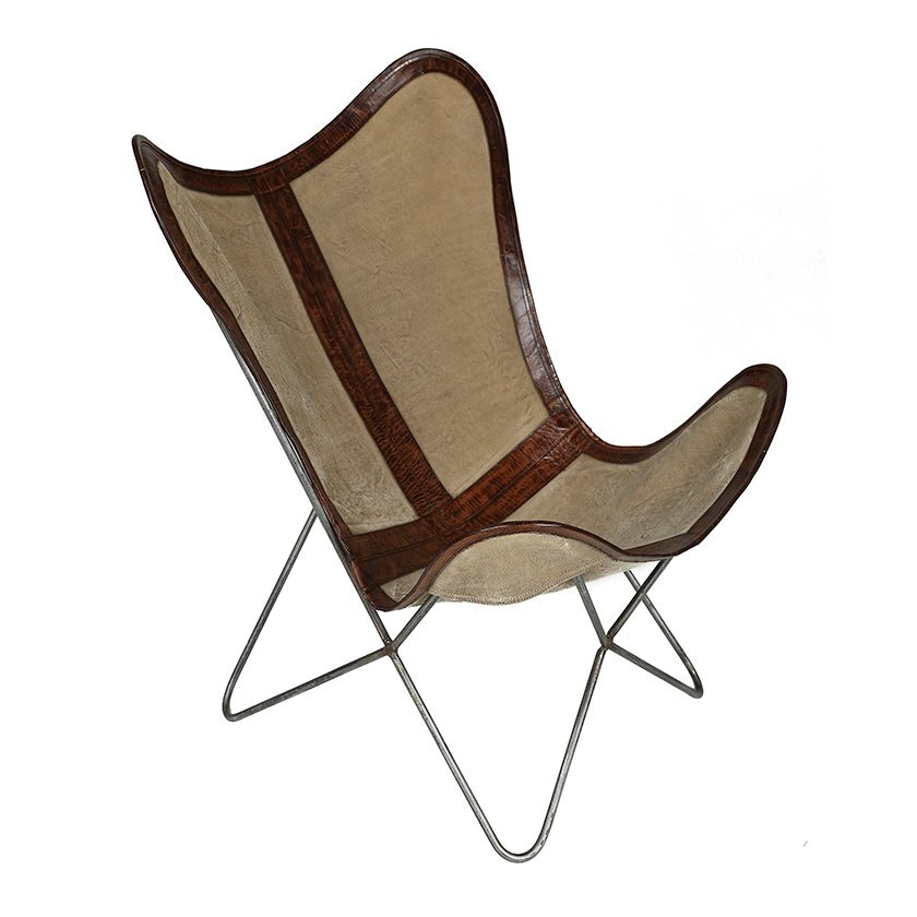 Leather Detailed Canvas Butterfly Chair (  68 X 70 X 93 Cm  )