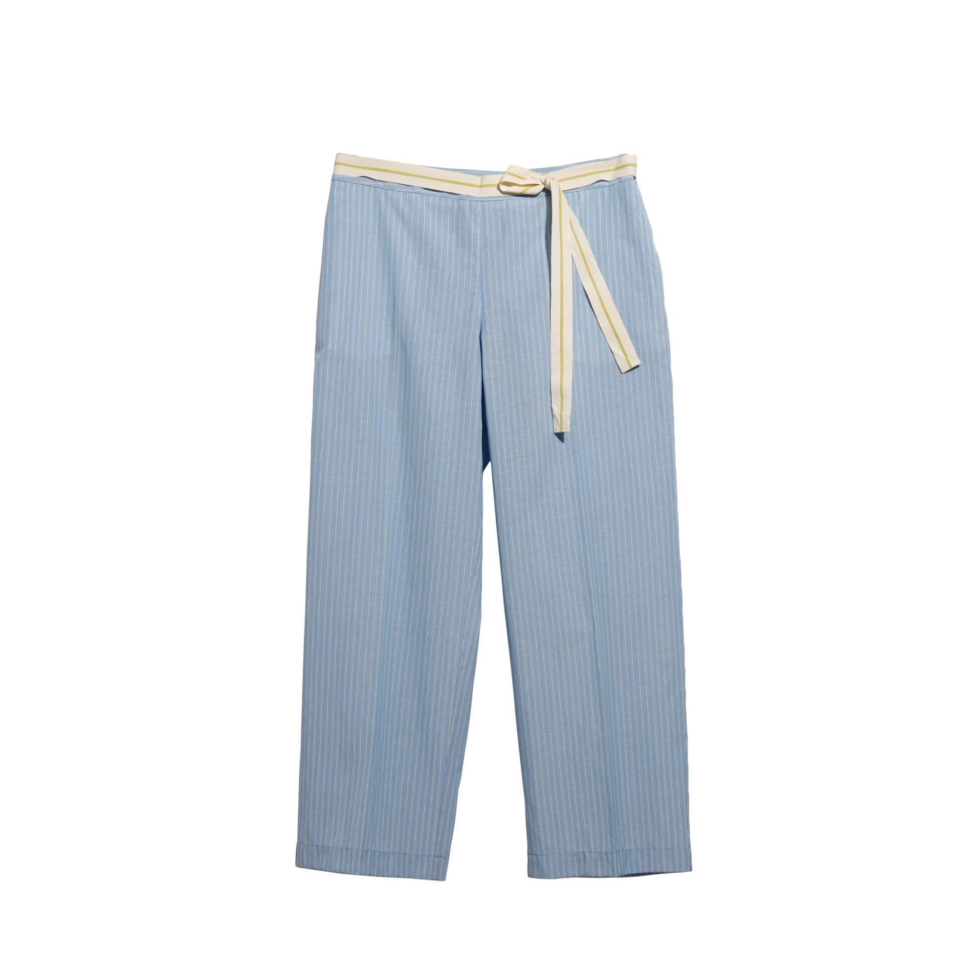 Bol Paça Ütü Çizgili Pantolon