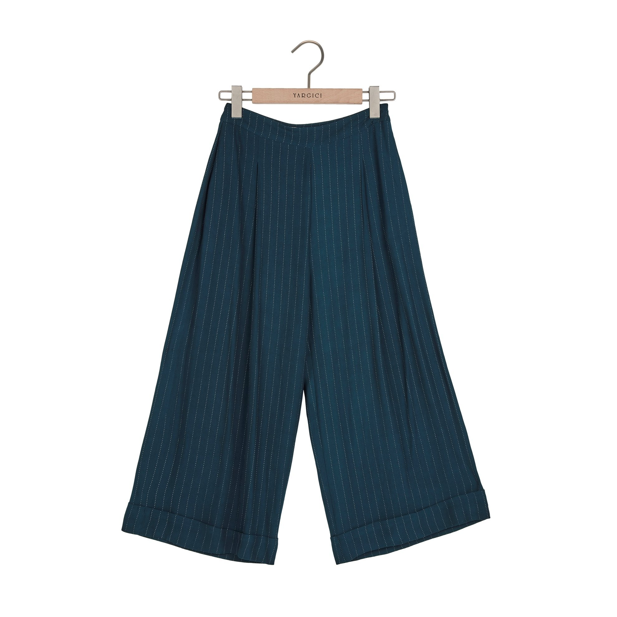 Damen Hose mit breitem Bein und Buntfalte