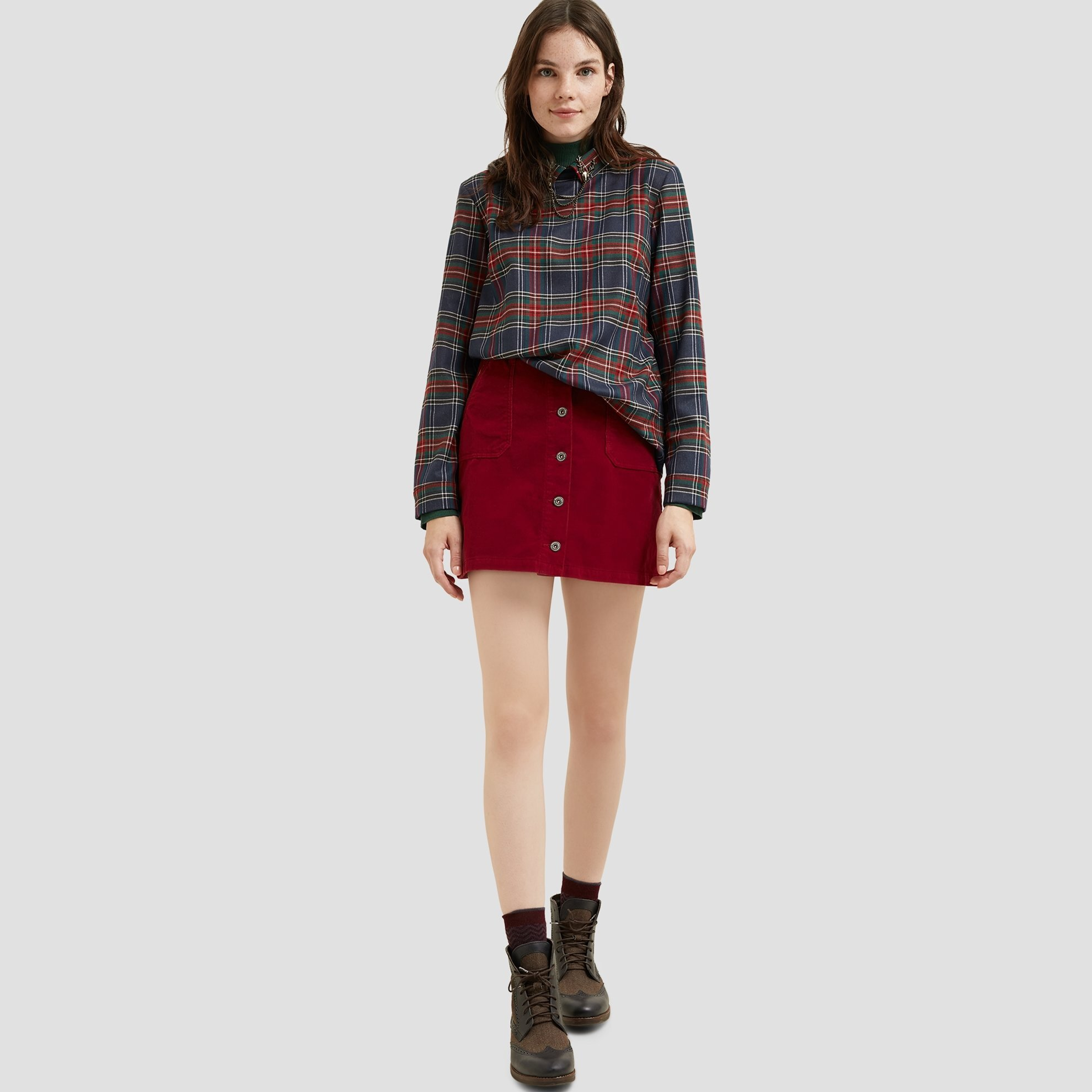 Front Buttoned Corduroy Over The Knee Skirt