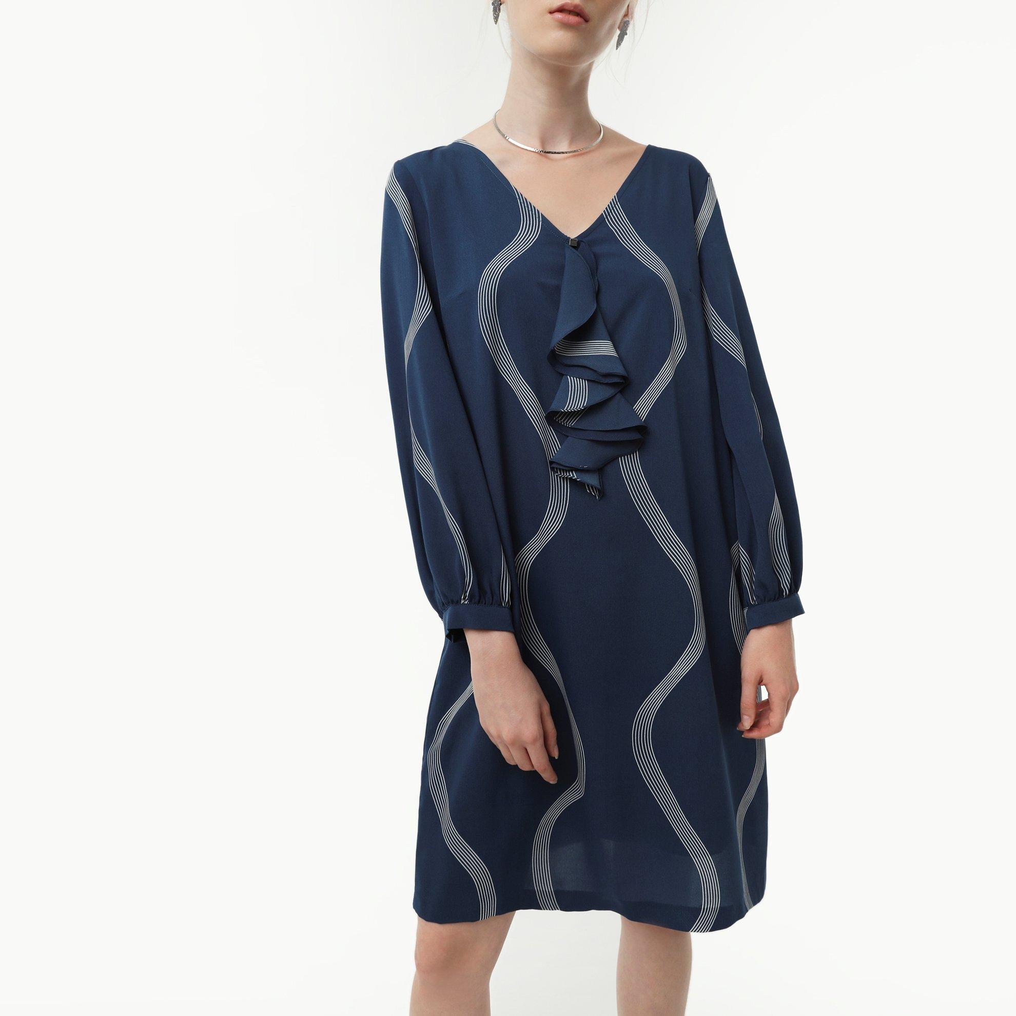 A Form Yaka Detaylı Elbise