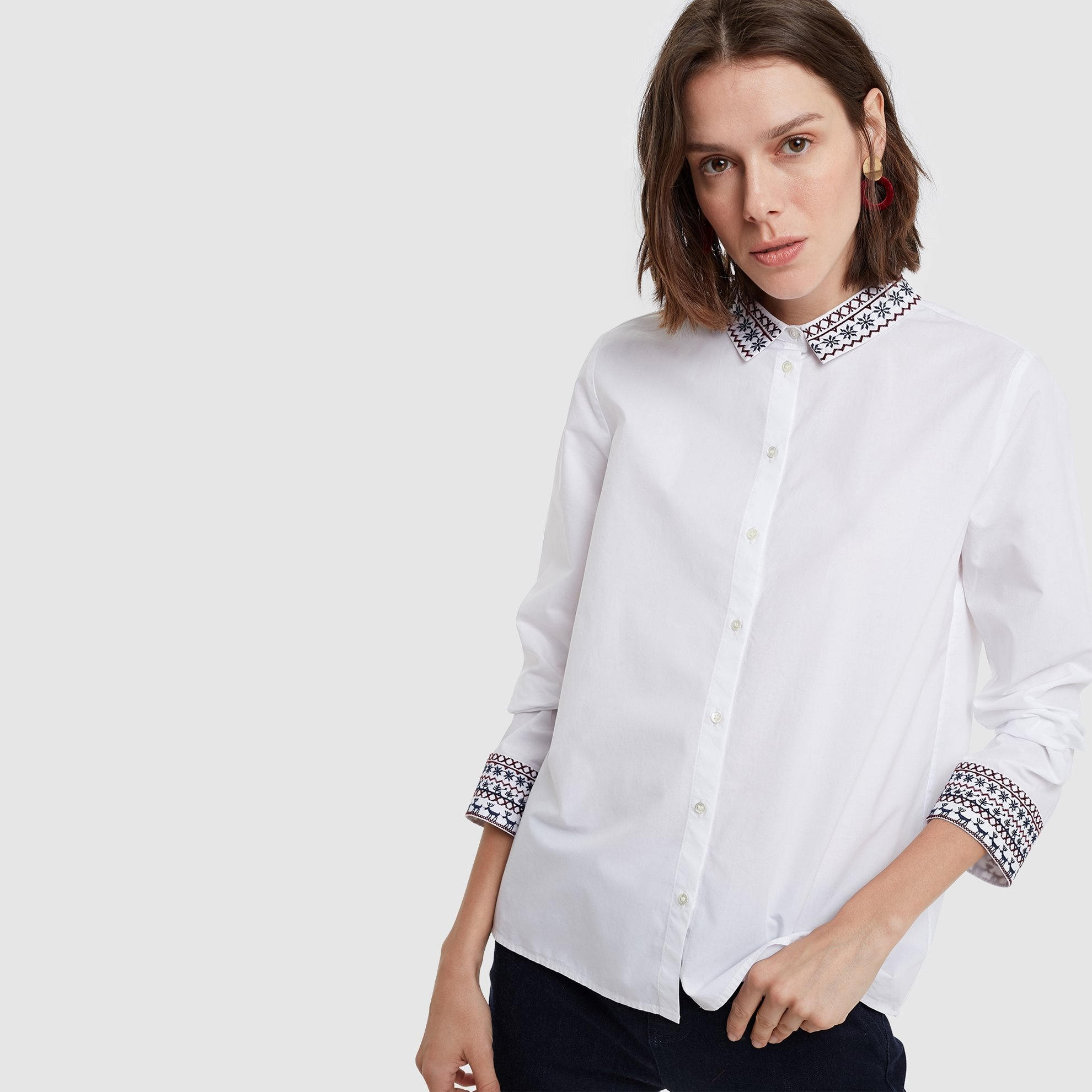resm Nakış Detaylı Gömlek