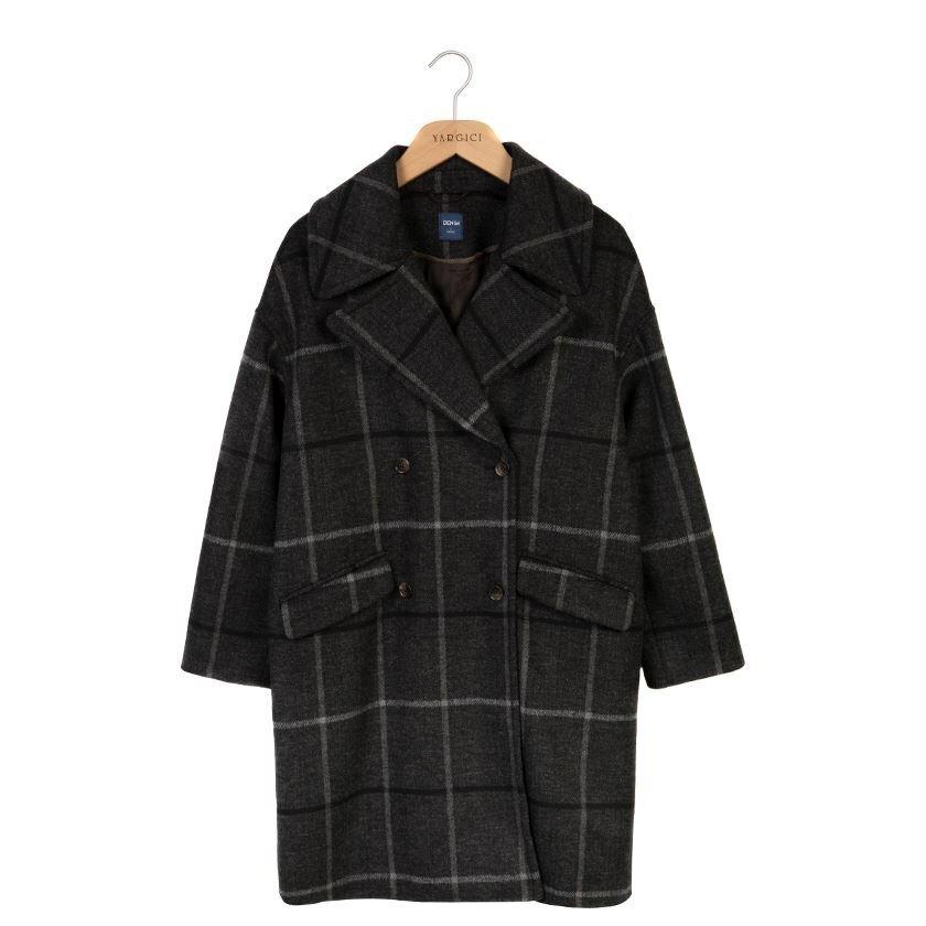 Geniş Yakalı Düşük Omuzlu Palto