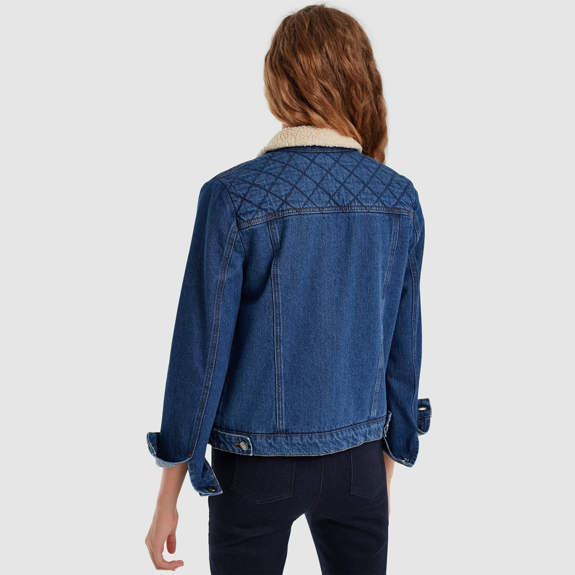 Quilted Denim Jacket With Fur Detail
