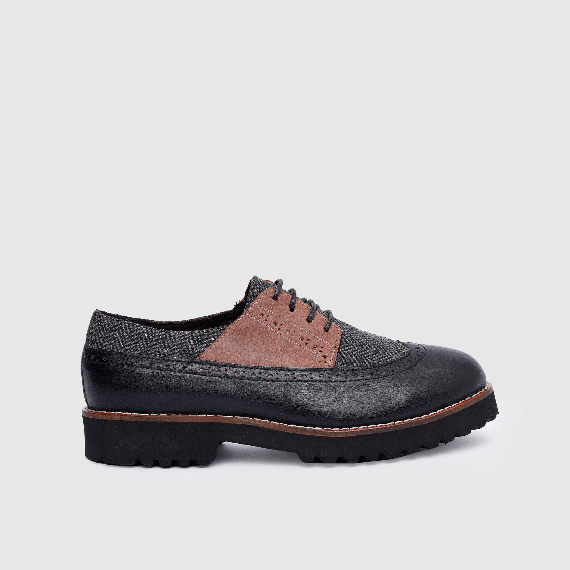 resm Kumaş Detaylı Deri Ayakkabı