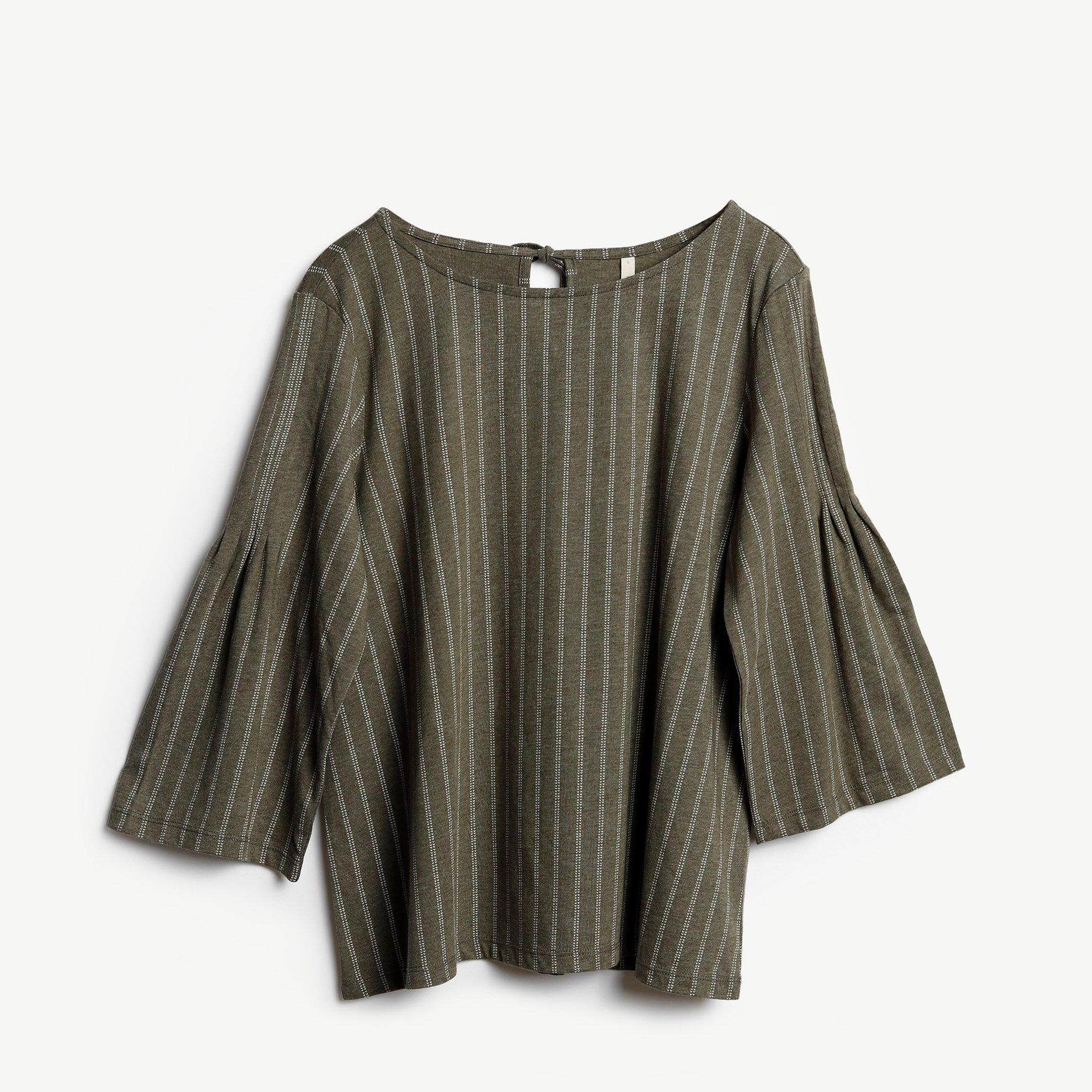 Pintuck Detailed 3/4 Sleeve T-Shirt
