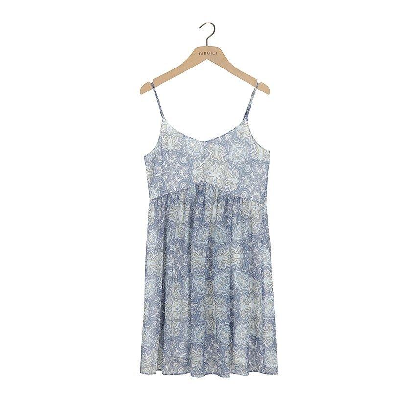 Sırtı Düğme Detaylı Elbise
