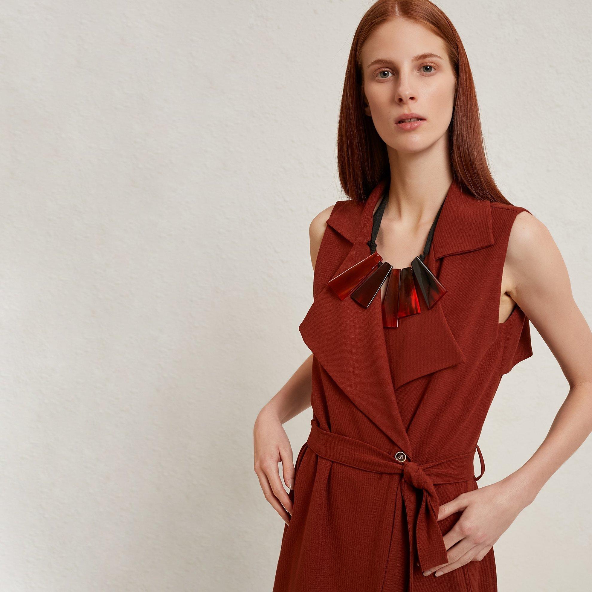 Trench Detailed Sleeveless Dress