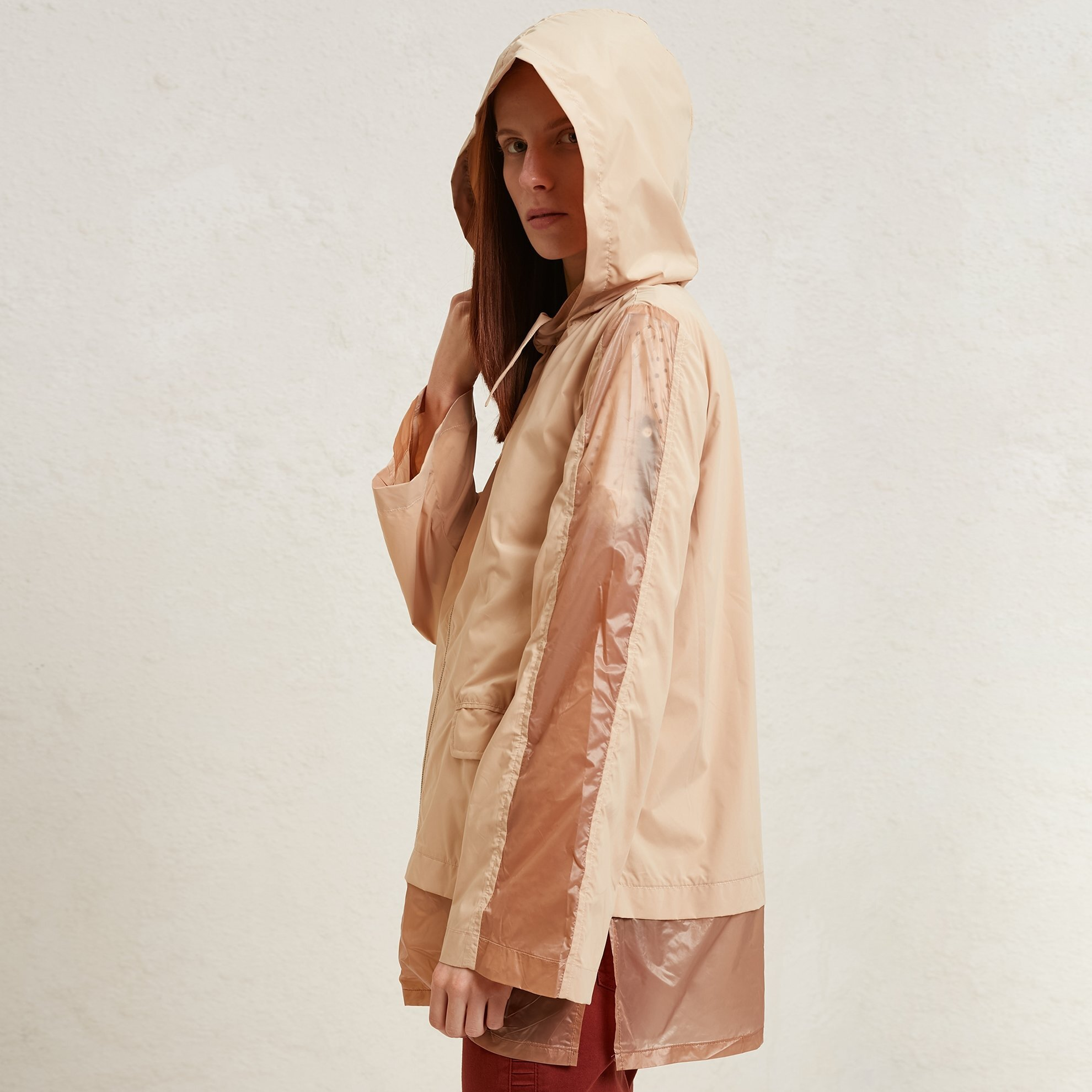 Sheer Panelled  Raincoat