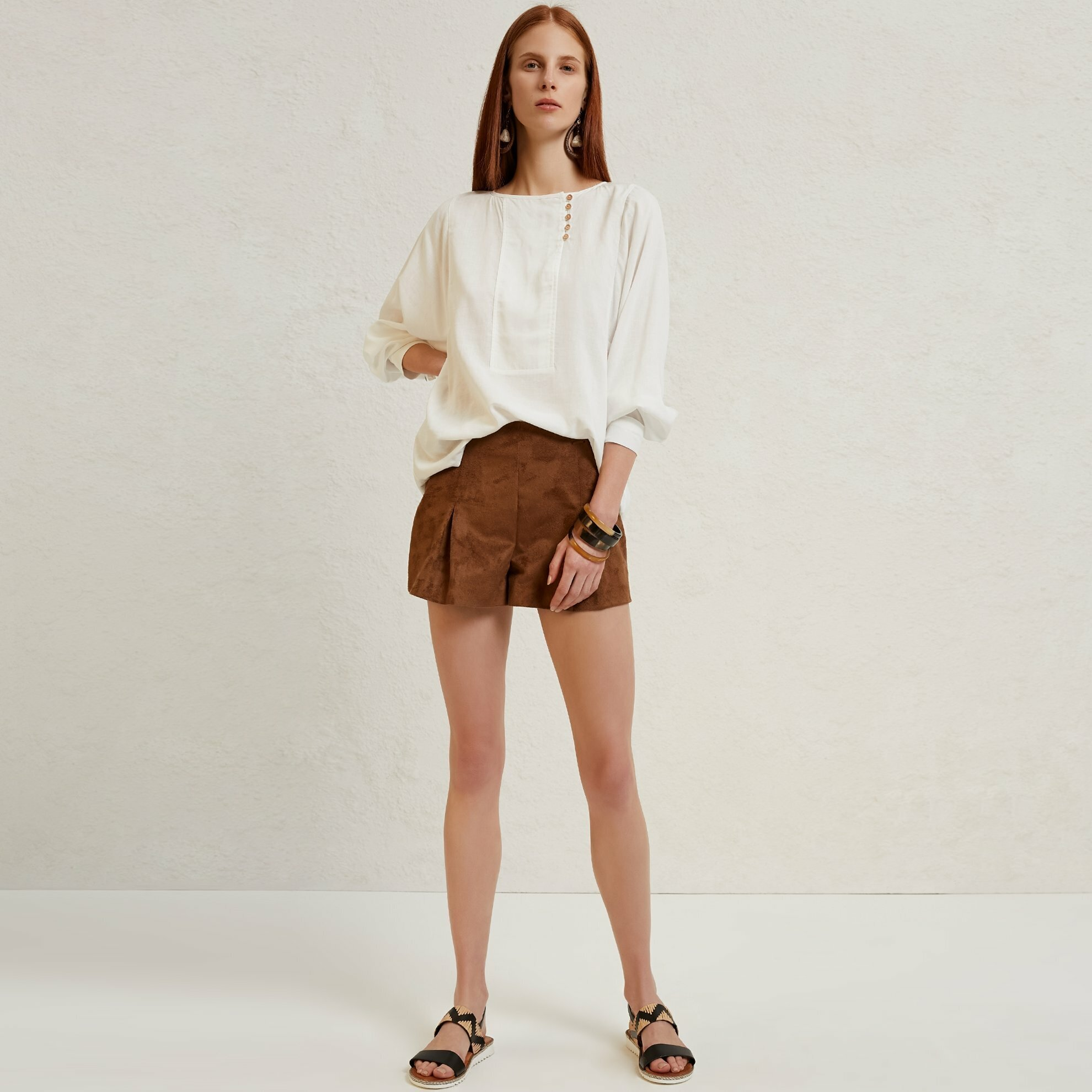 Pleat Detailed Suede Shorts