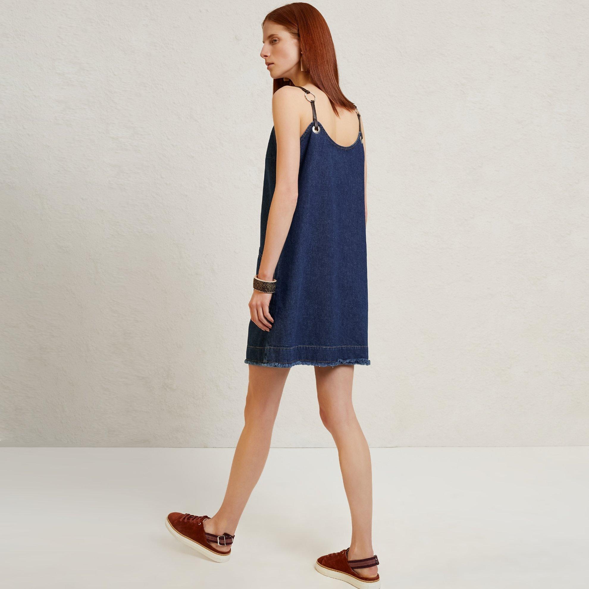 Strap Detailed Denim Dress