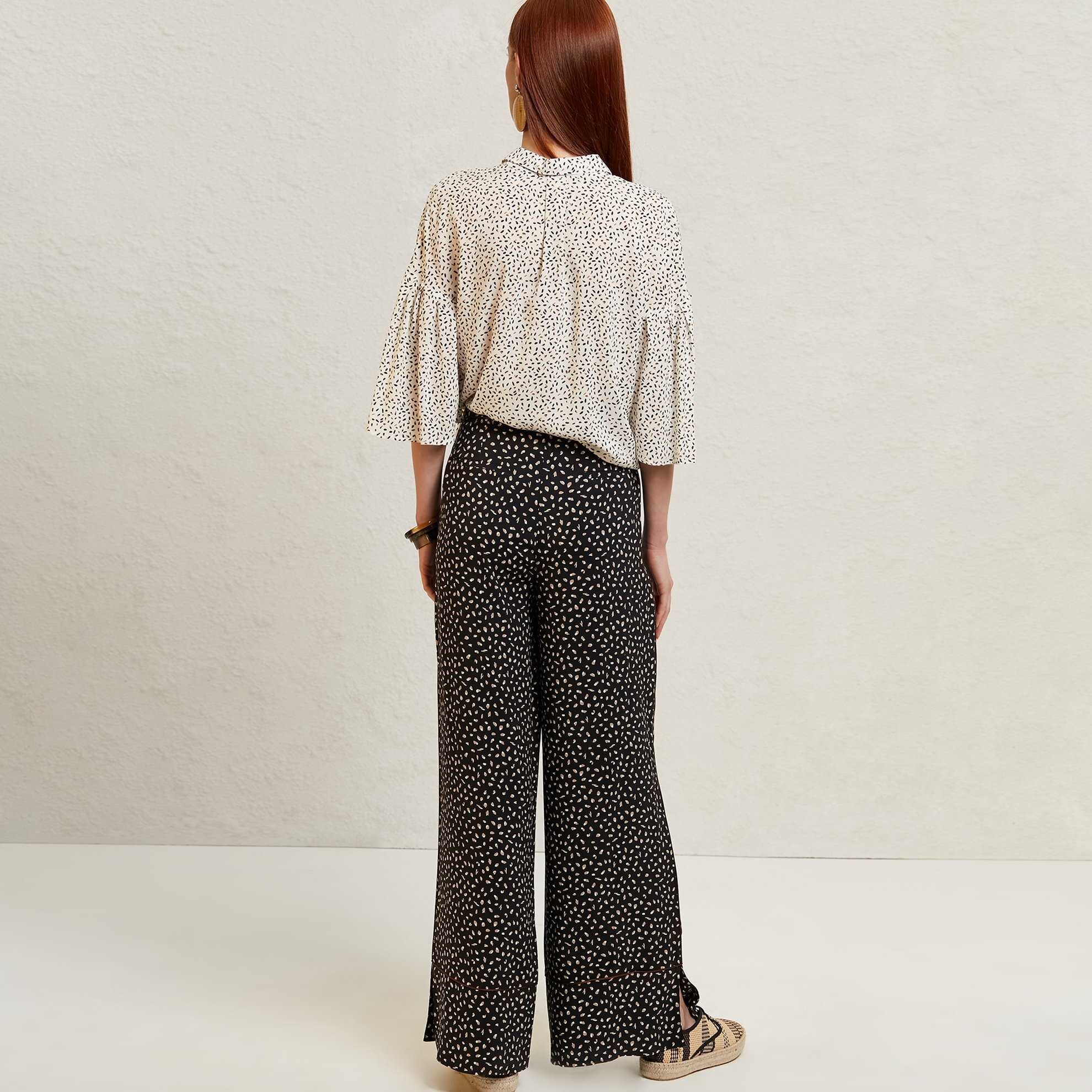 Piping Detailed Wide Leg Trousers