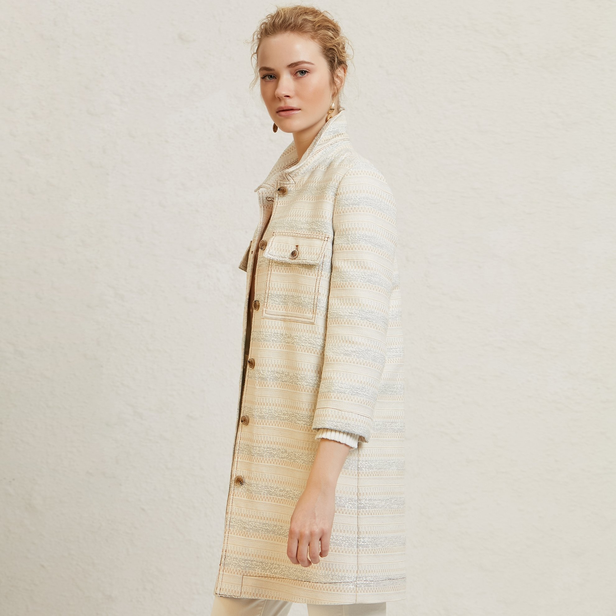 Contrast Stitch Trench