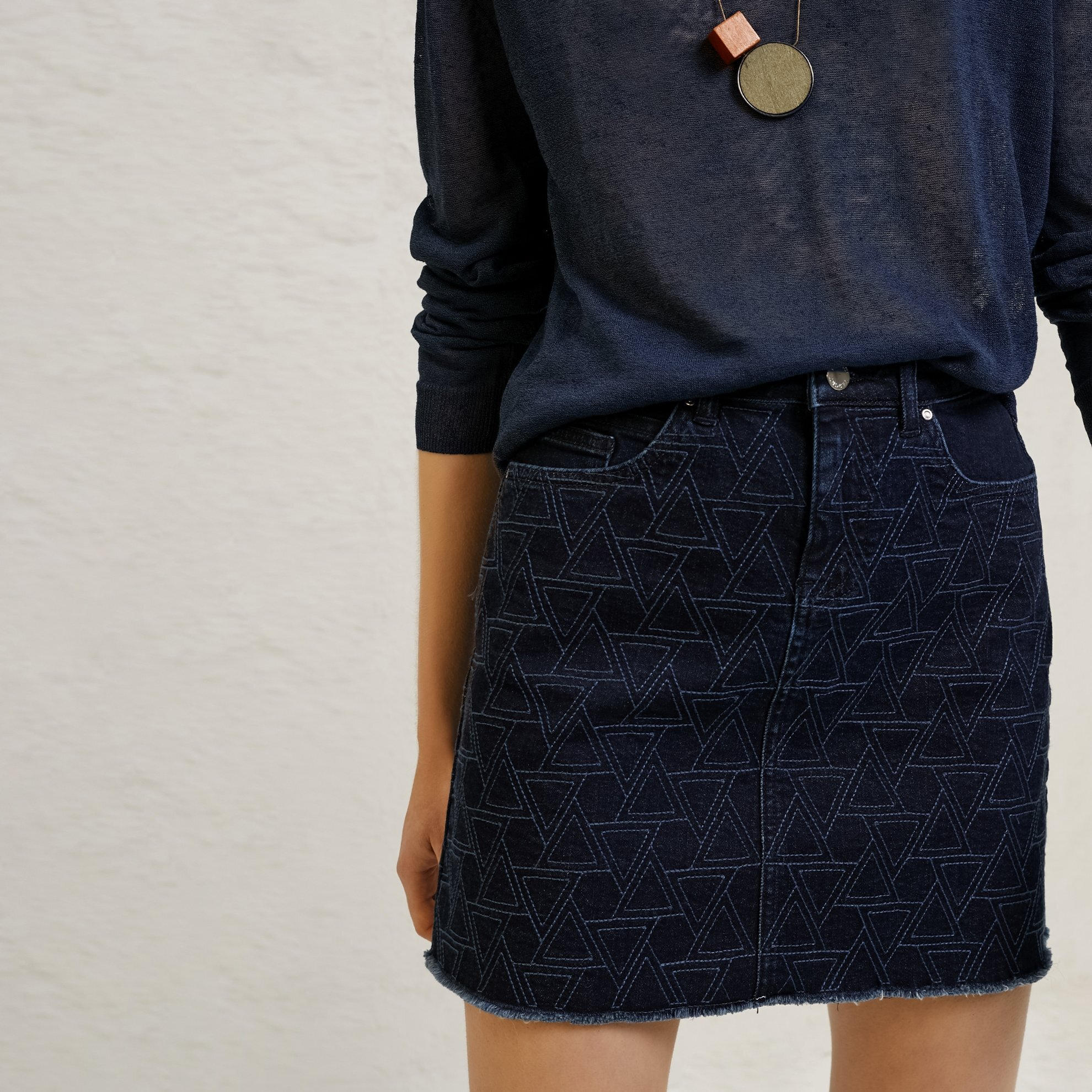 Mini Embroidered Denim Skirt