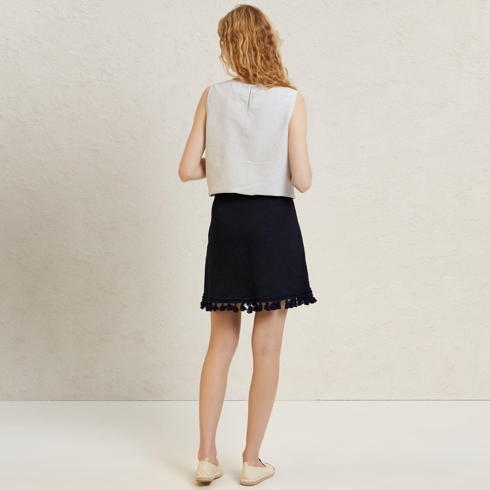Fringe Detailed Mini Denim Skirt
