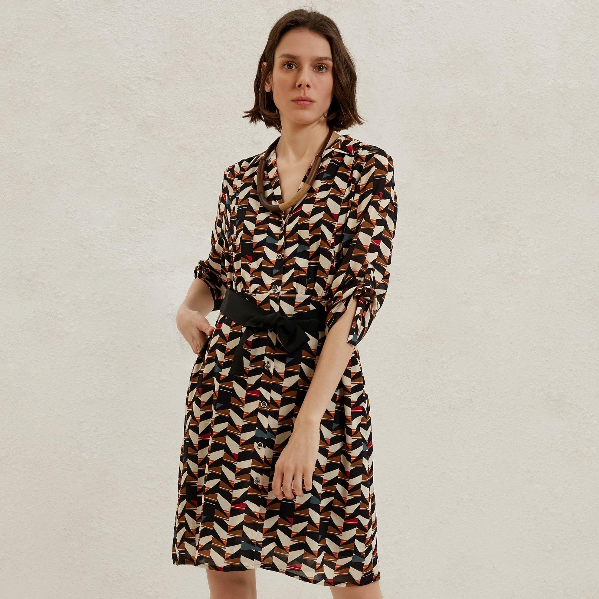 Contrast Belted Shirt Dress