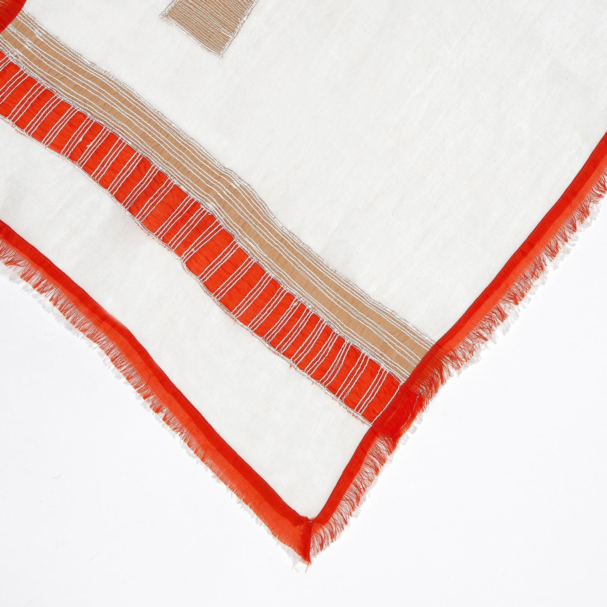 Leinen Schal mit Streifen