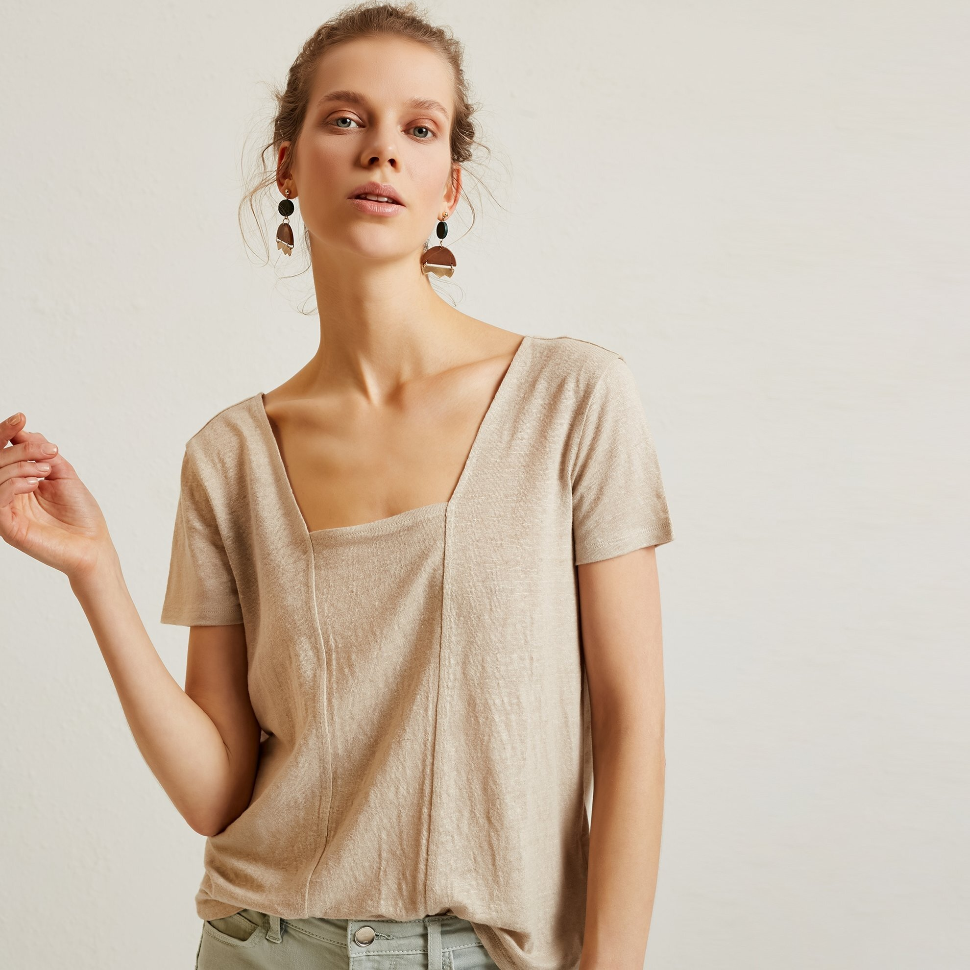 Square Neck Panelled T-Shirt