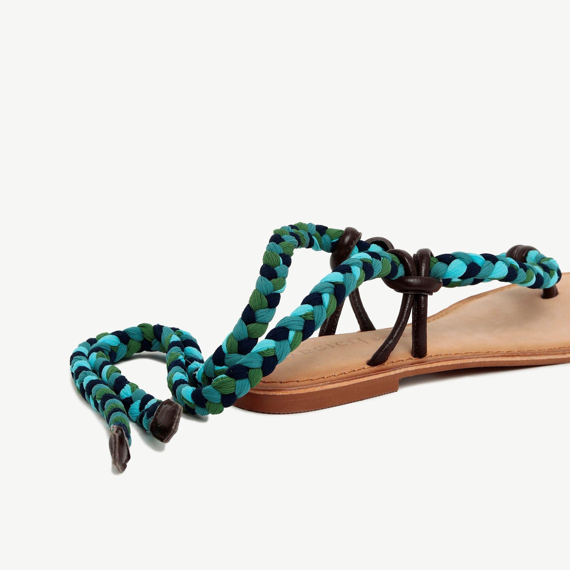 Leather Sandal Wtih Textile  Strap