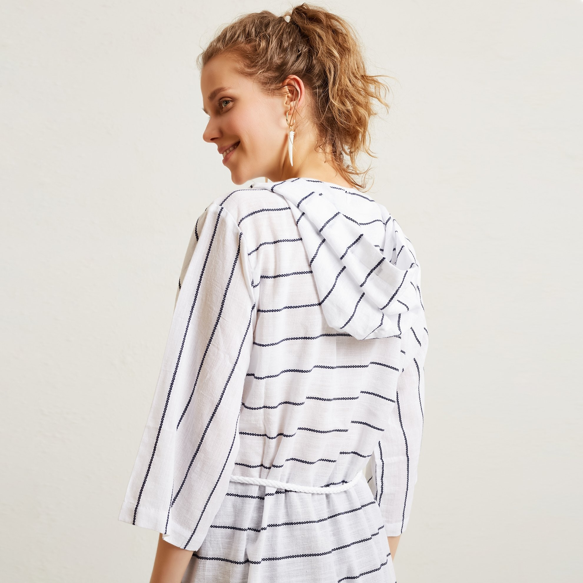 Striped Hooded Beachwear