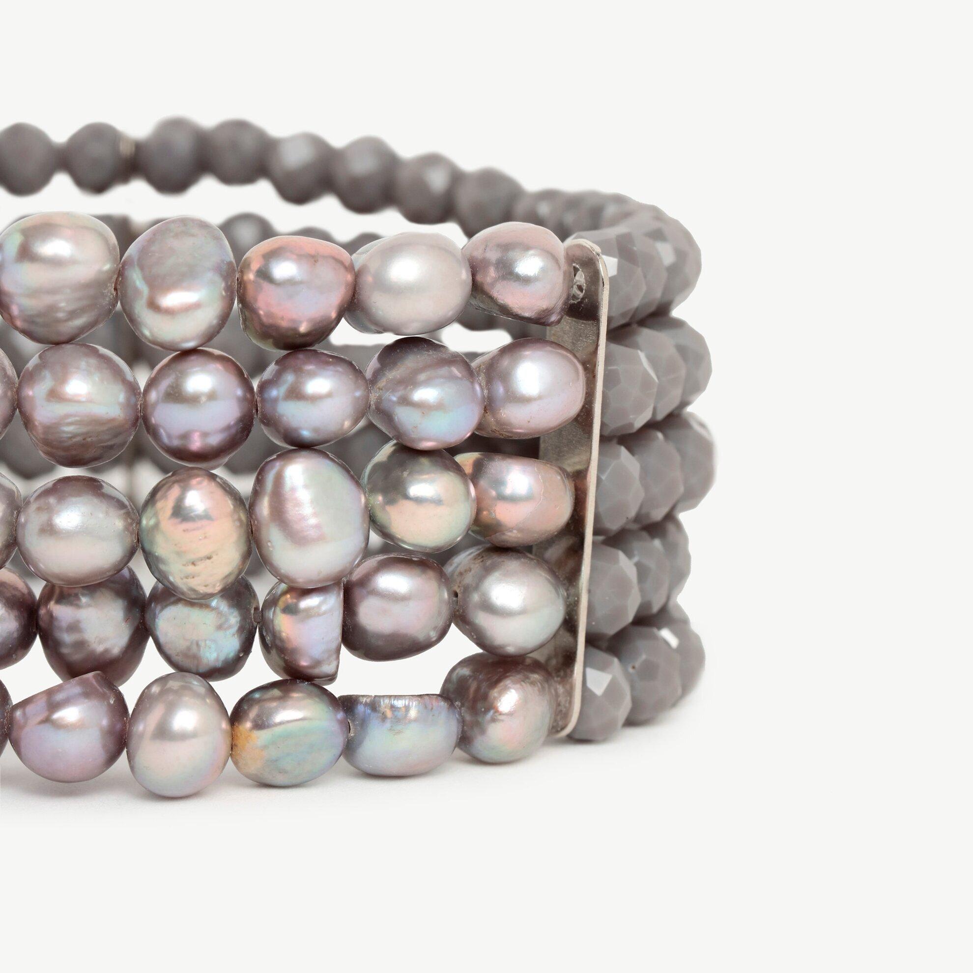 Damen Armreif 5-reihig mit Perlen