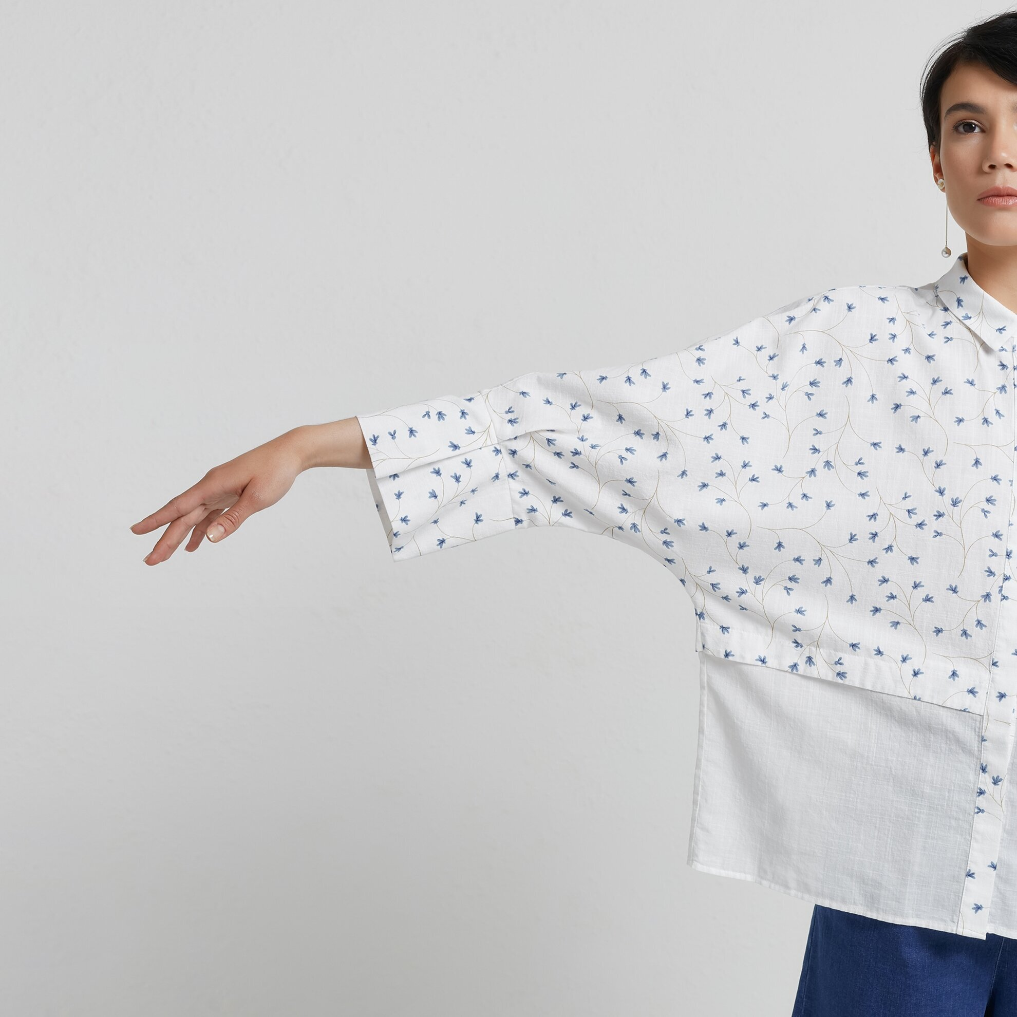 Cuff Detailed Relaxed Fit Shirt