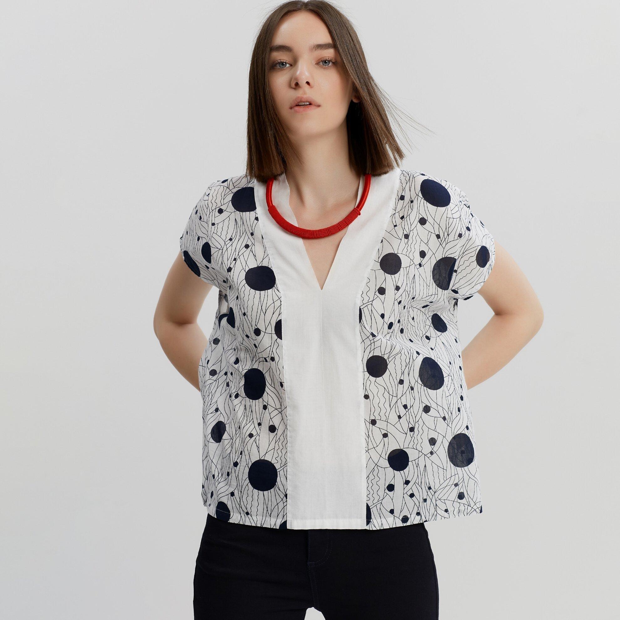 V Yaka Geniş Kesim Gömlek