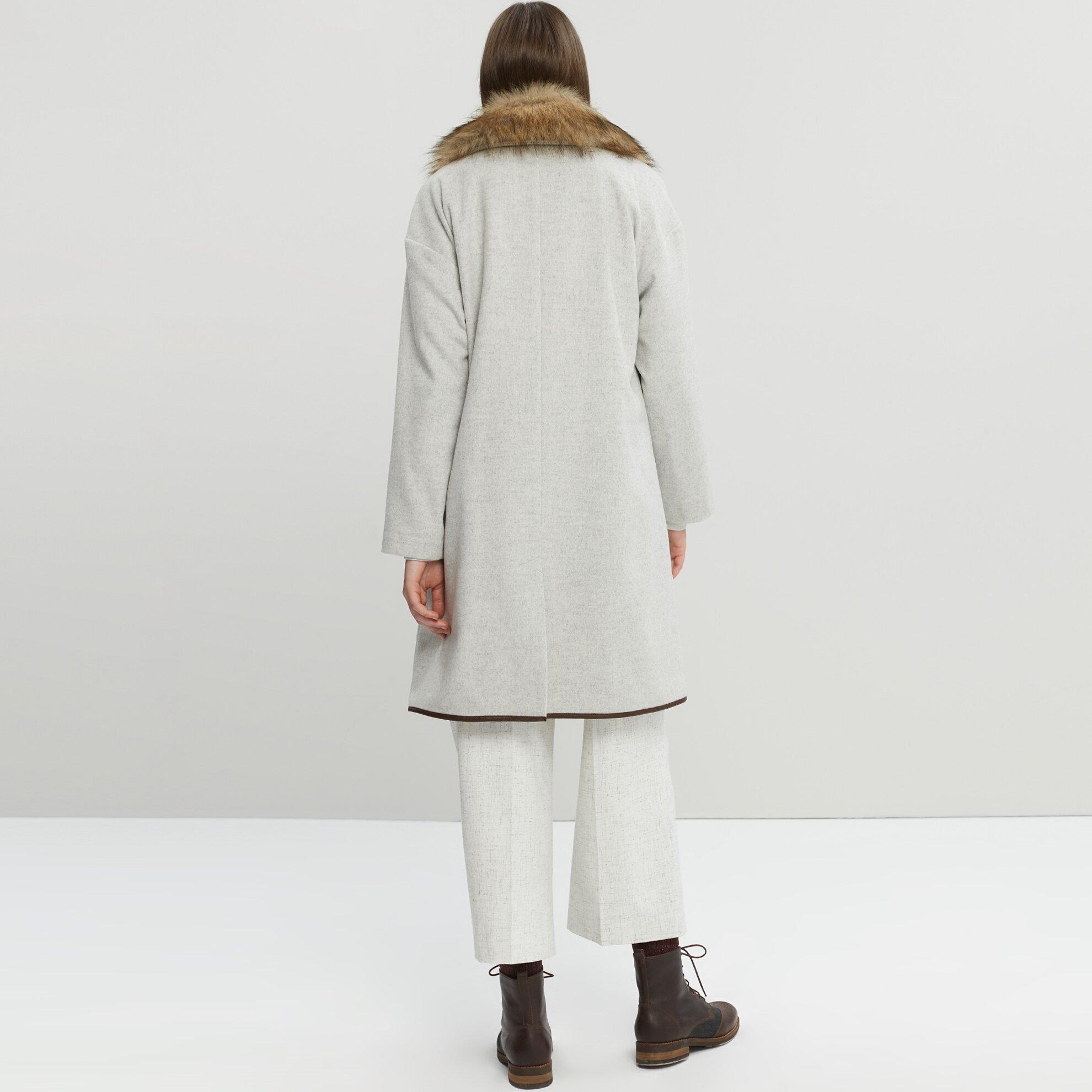 Und Kunstfellkragen Mantel Ledernähten Damen Mit qzMUVpGS