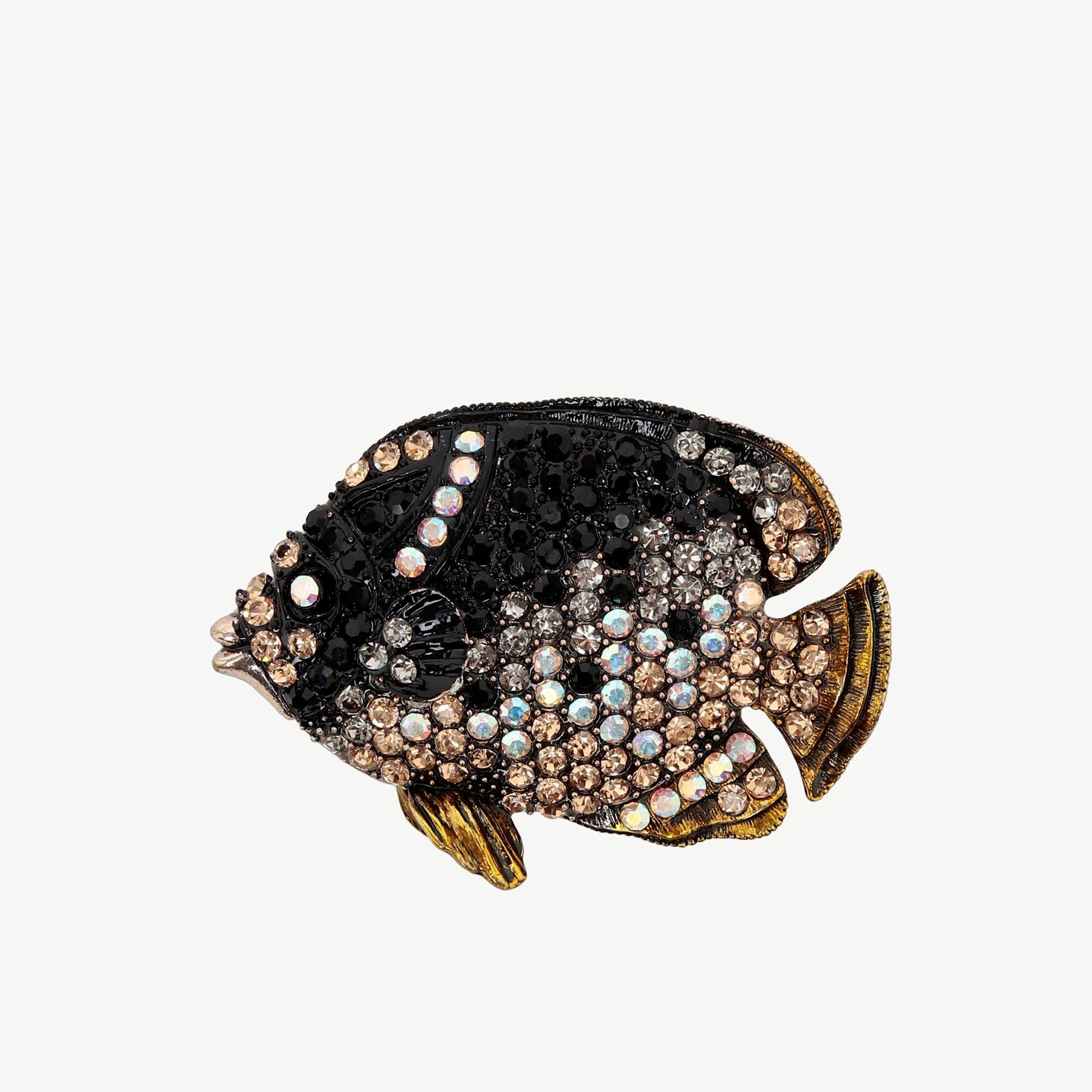 Taşlı Balık Desenli Broş