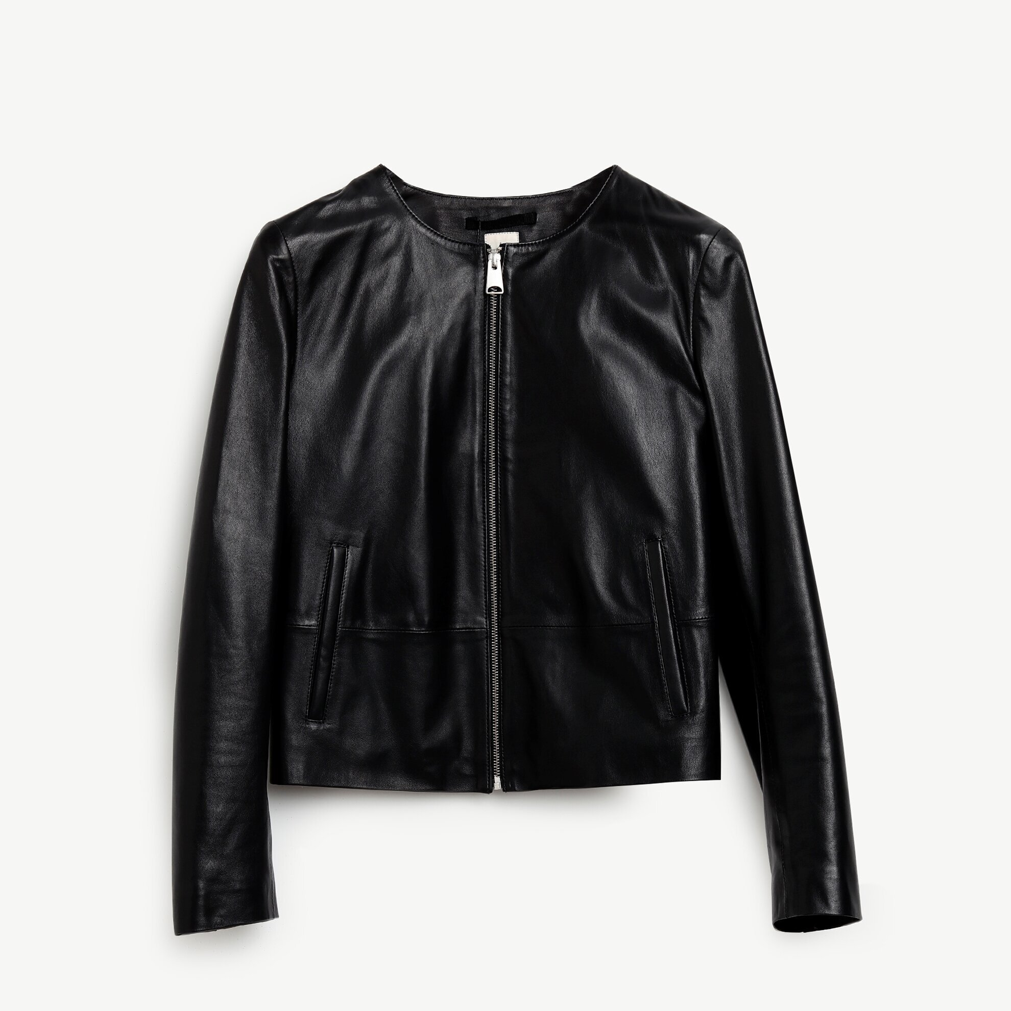 Crew Neck Leather Coat