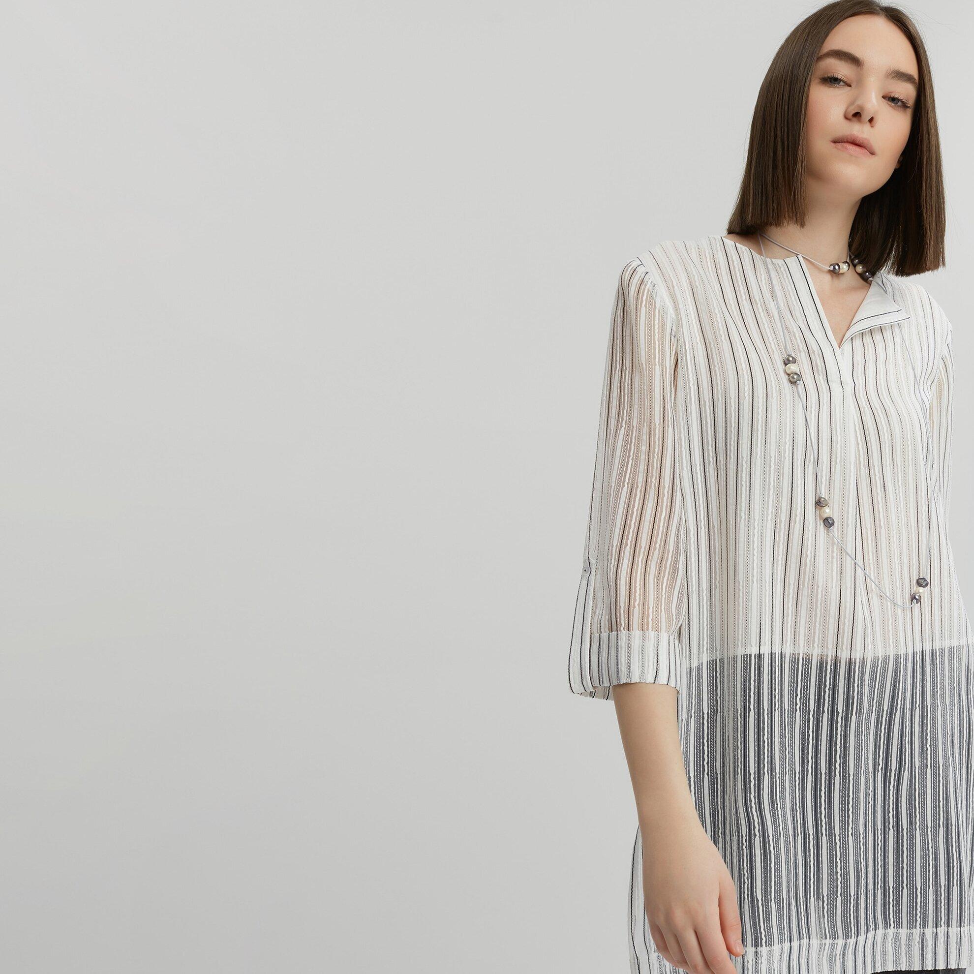 Uzun Yırtmaç Detaylı Bluz