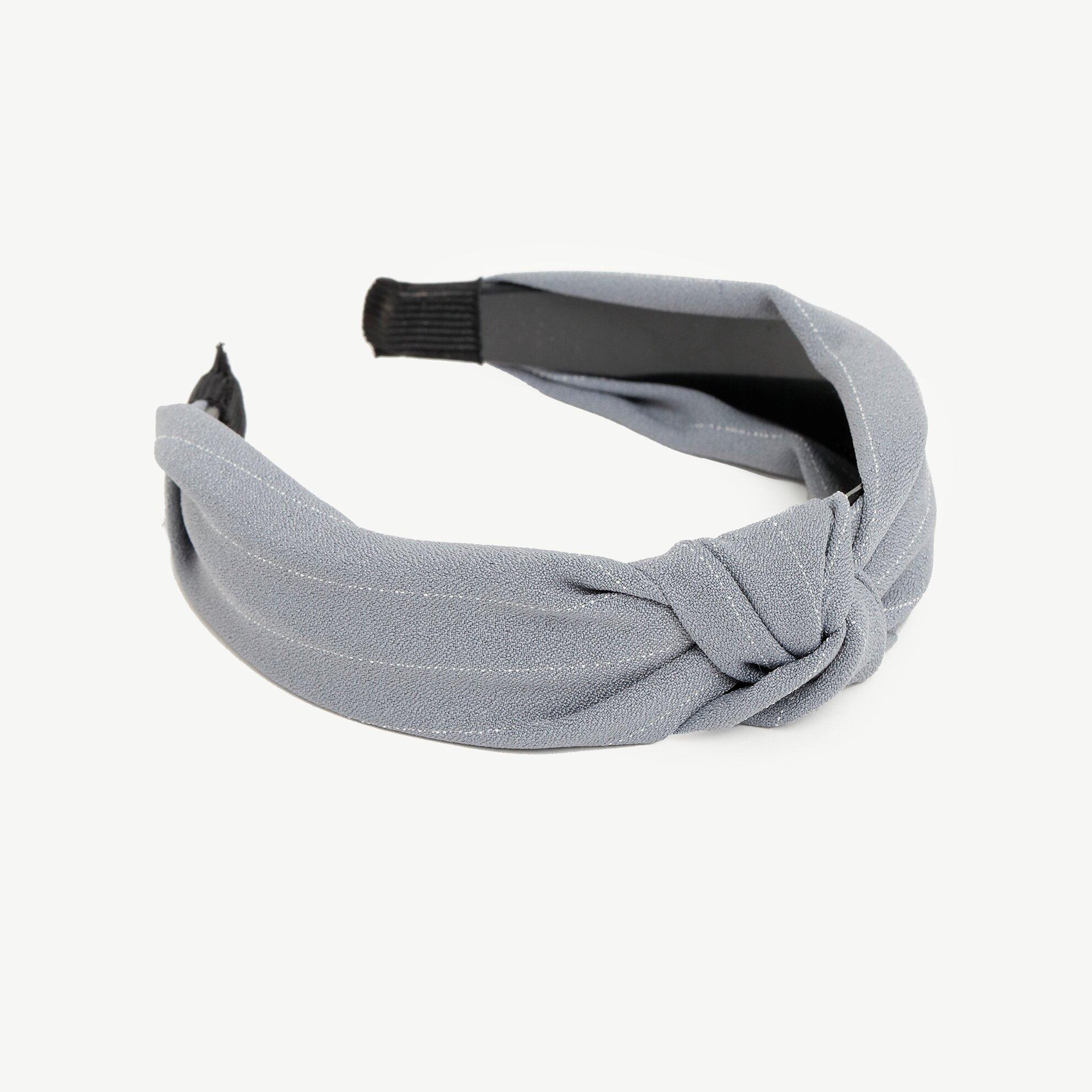 Haarreif grau mit dünnen Streifen und Stoffschleife