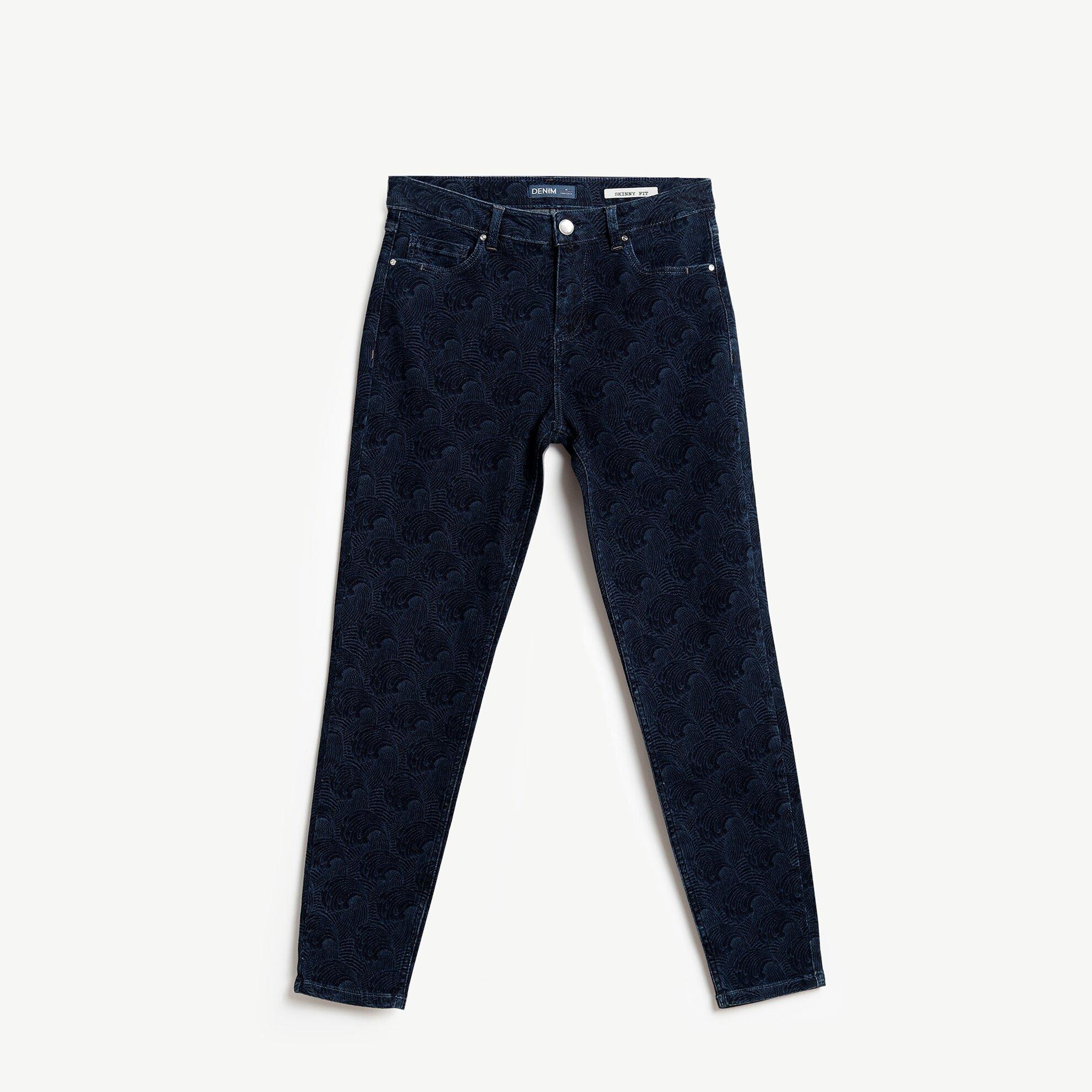 Desenli Denim Pantolon