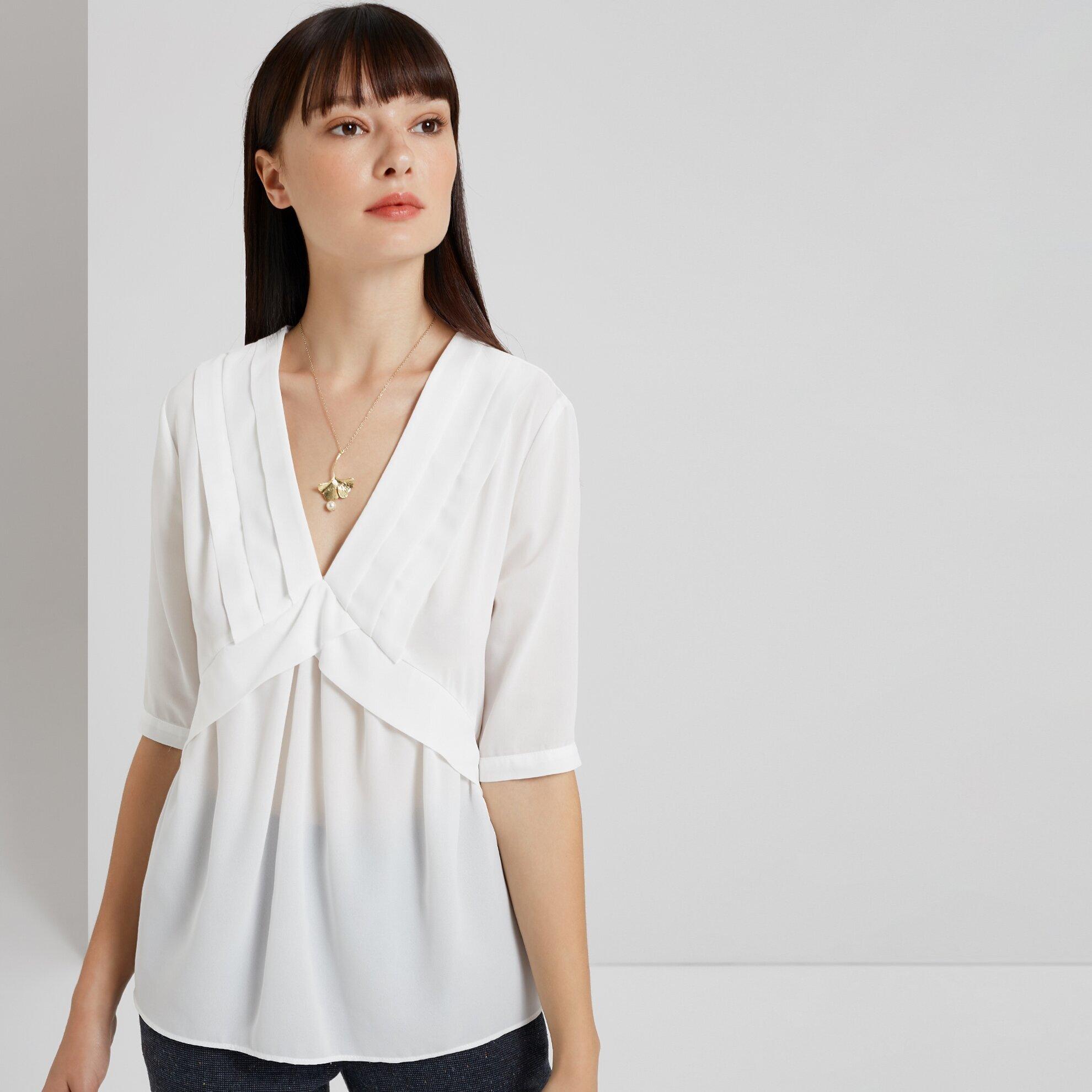 Pintuck Detailed Long Sleeve Shirt