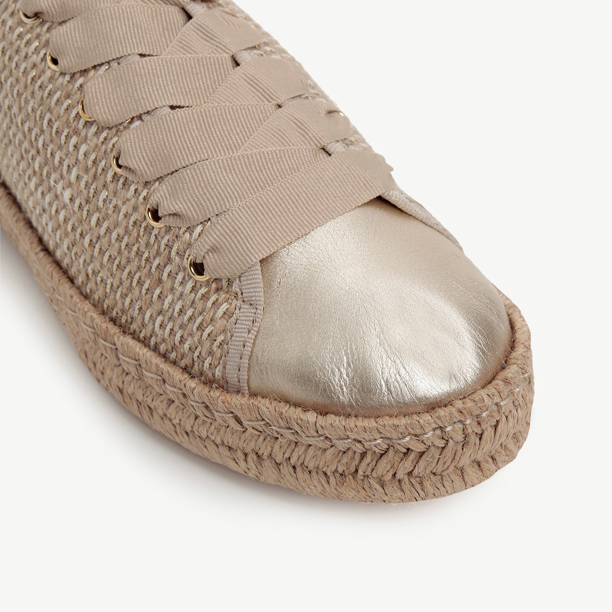 Hasır Karışım Kumaşlı Jüt Örgü Tabanlı Burnu Deri Detaylı  Spor Ayakkabı