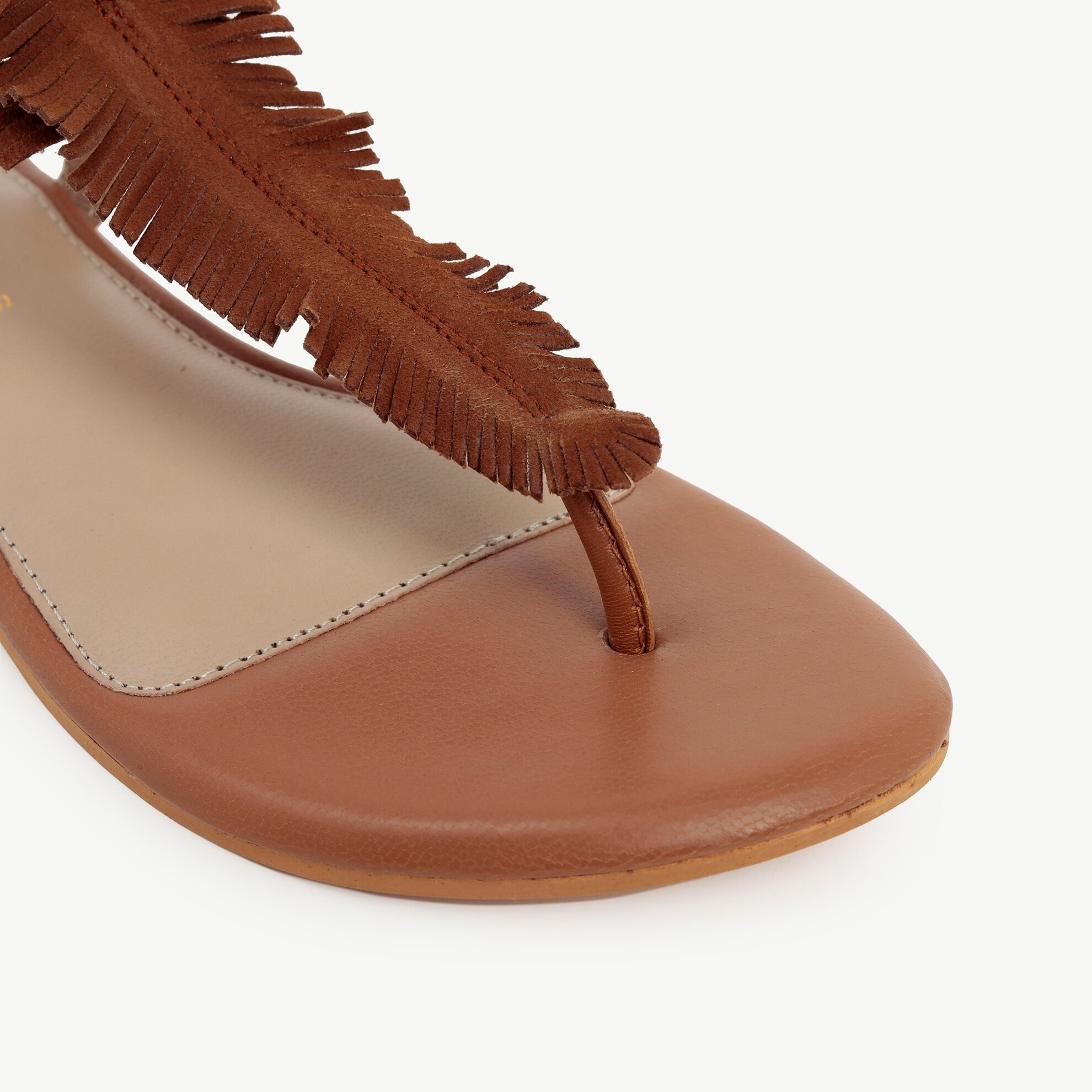 Bilekten Bağlamalı Parmakarası Deri Sandalet