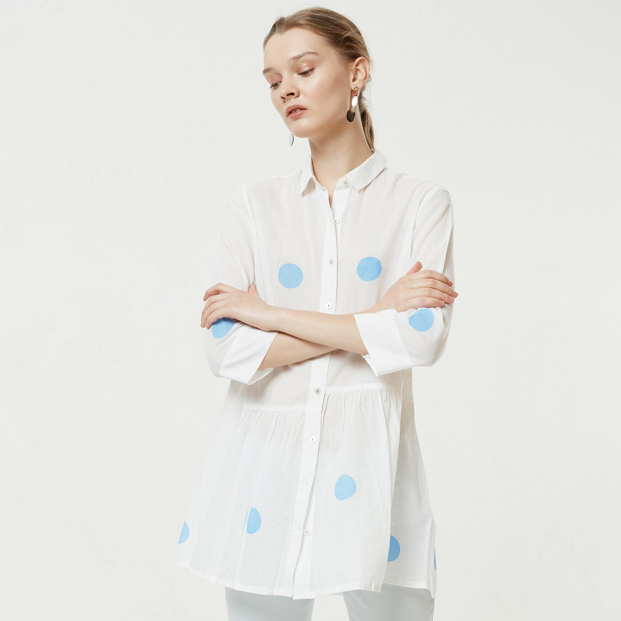 Büzgü Detaylı Gömlek Elbise